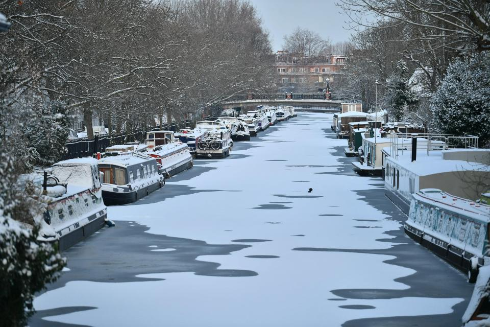 A canal in Little Venice in west London is frozen over amid sub-zero temperatures