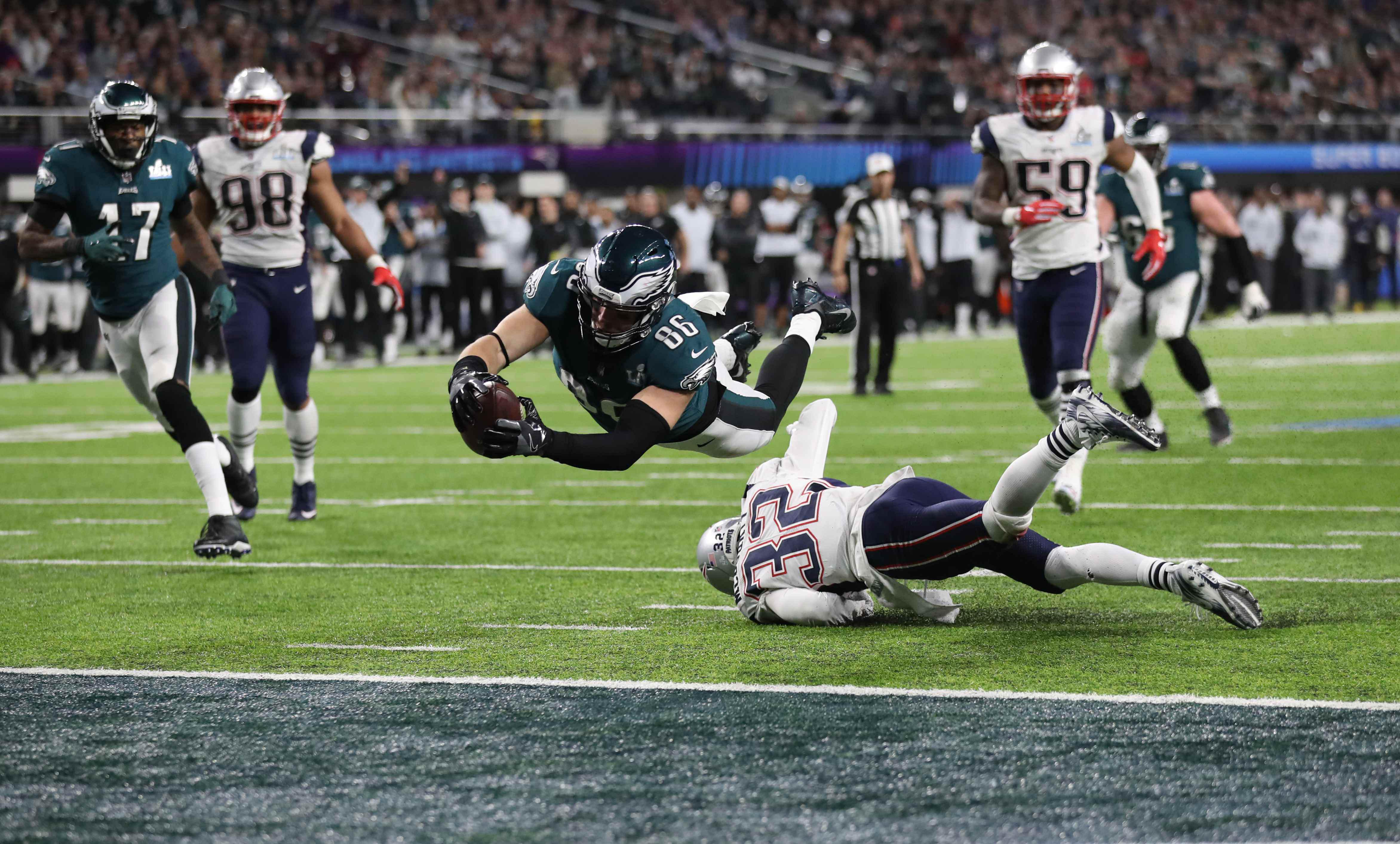 Zach Ertz scored what proved to be the game-winning touchdown