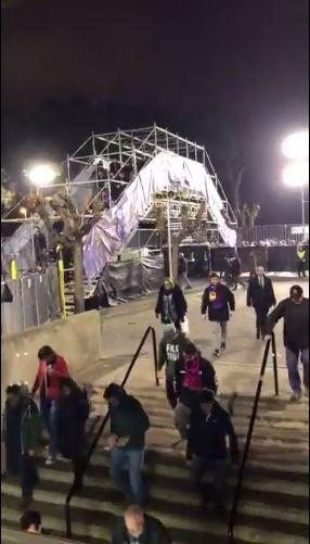 Chelsea fans were made to walk over this 20ft rickety bridge at the Nou Camp