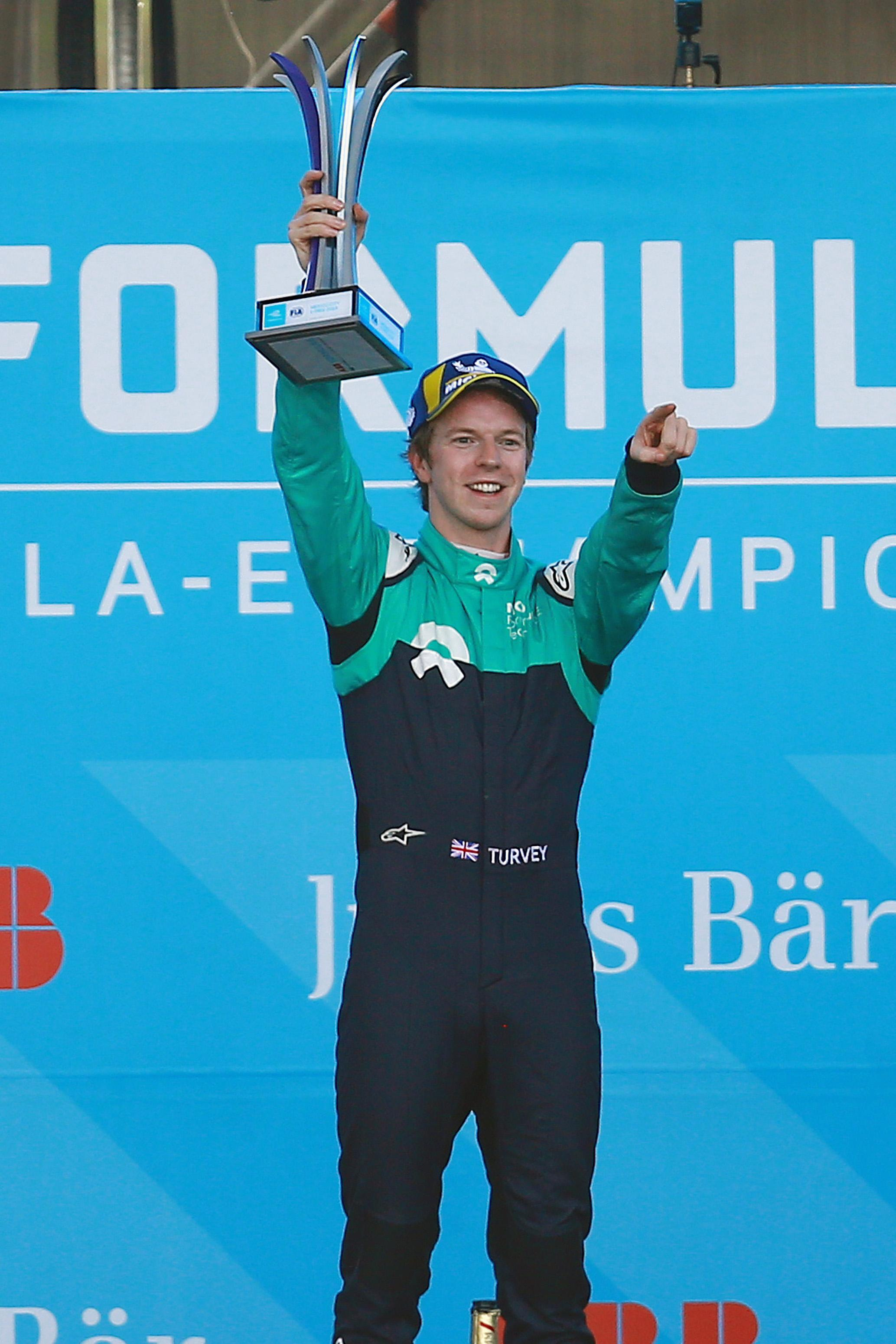 Oliver Turvey was on the podium for the first time in Formula E