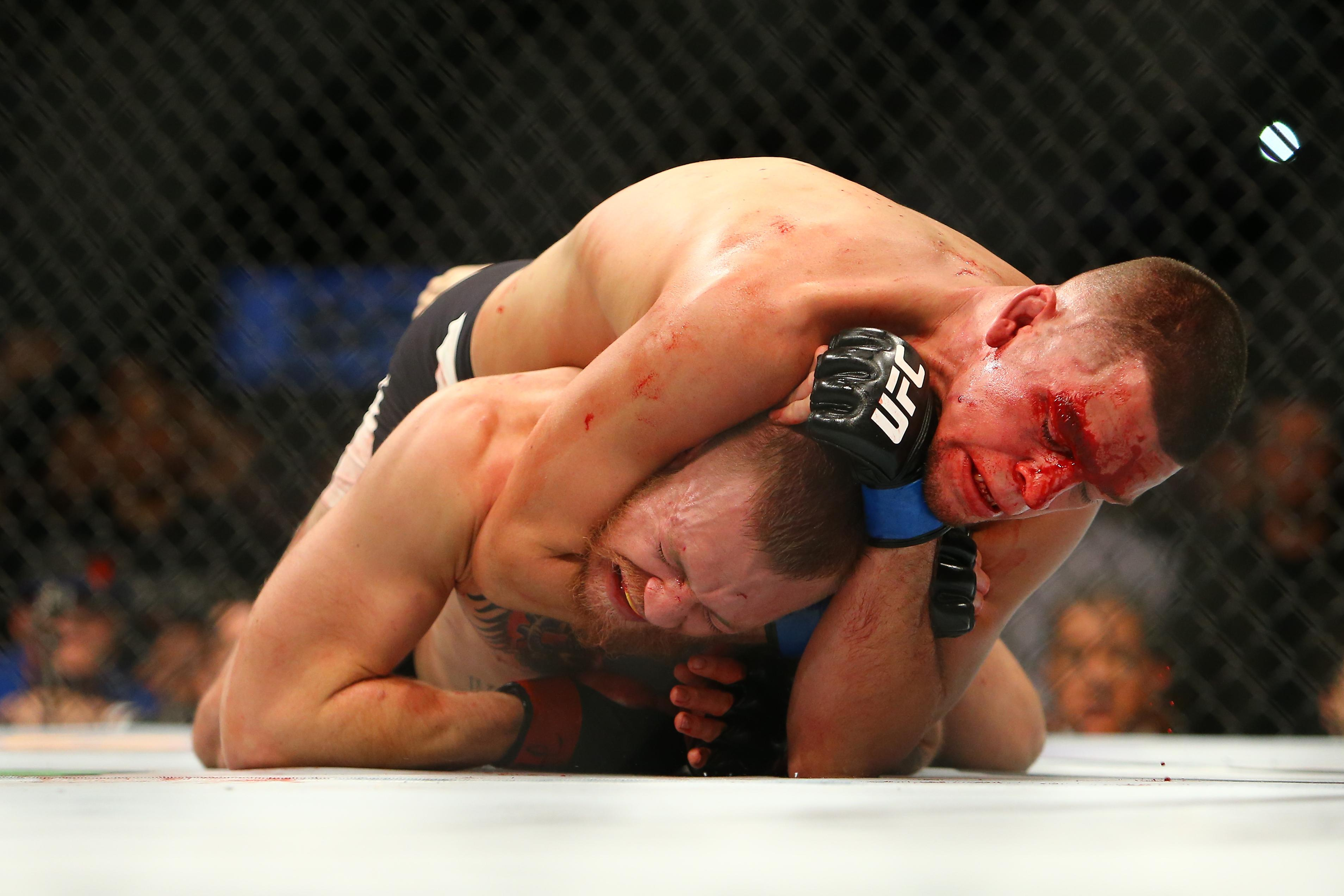 Conor McGregor submitted to Nick Diaz in their thrilling first fight