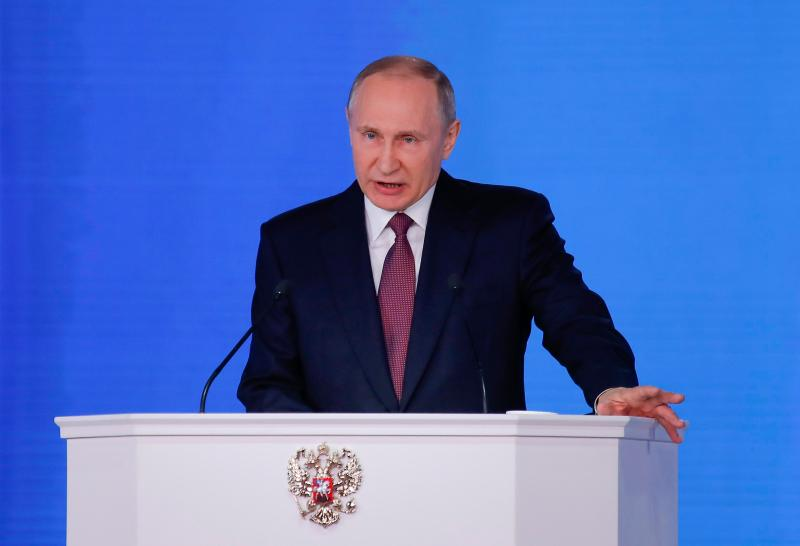 The new missiles have an 'unlimited range', Putin said in his state of the nation address in Moscow