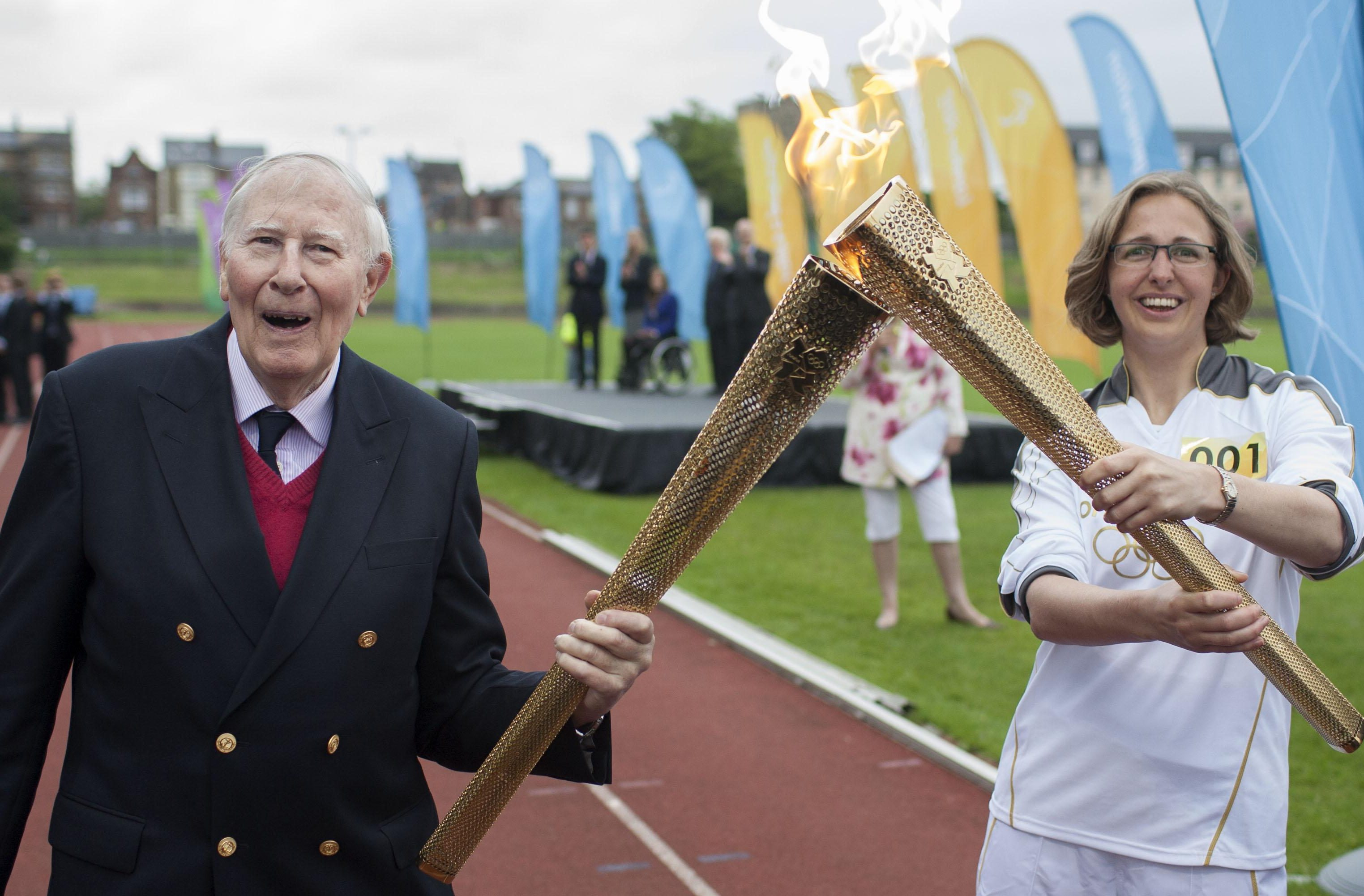 He was passed the Olympic flame in 2012 at the Oxford track where he set his record