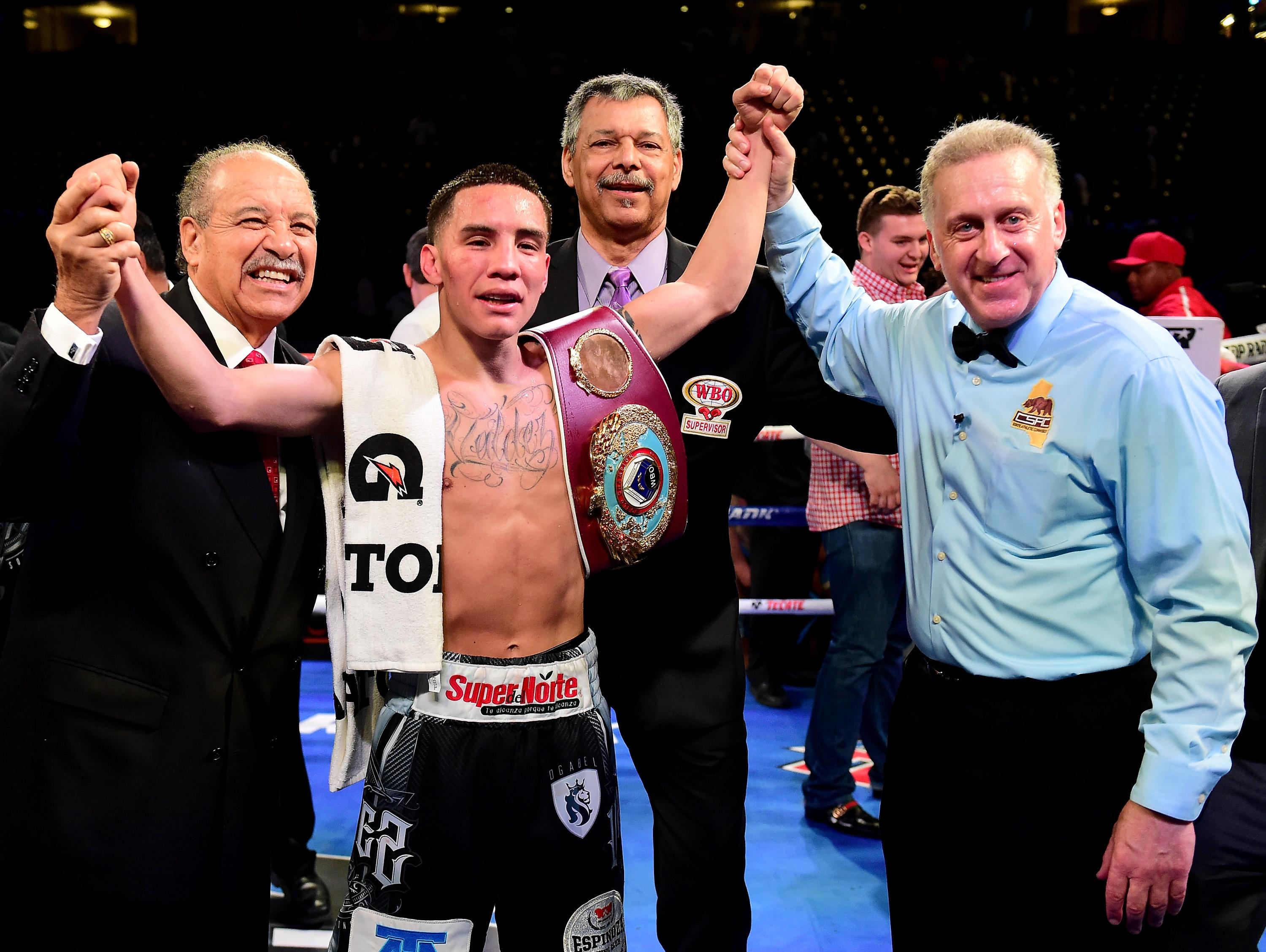 WBO featherweight champOscar Valdez was due to have his belt on the line