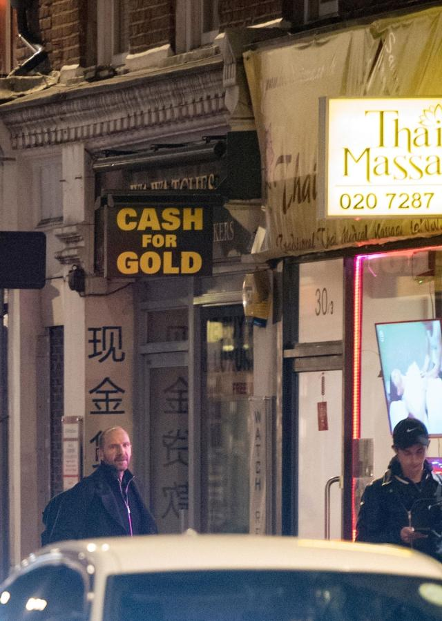 Ralph Fiennes was spotted entering a Thai massage parlour at around 10.45pm on Thursday night