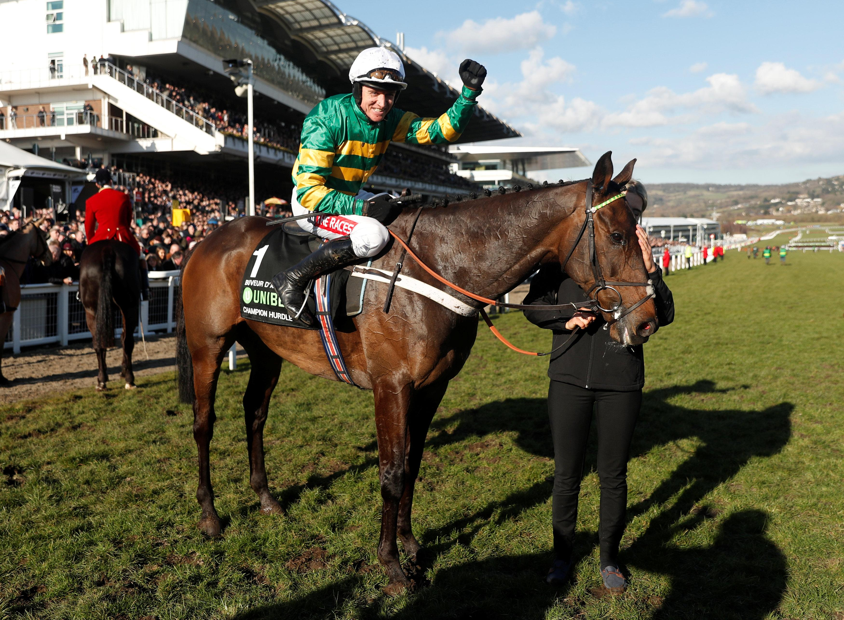 Barry Geraghty punches the air after riding the favourite Buveur D'Air to victory in the Champion Hurdle