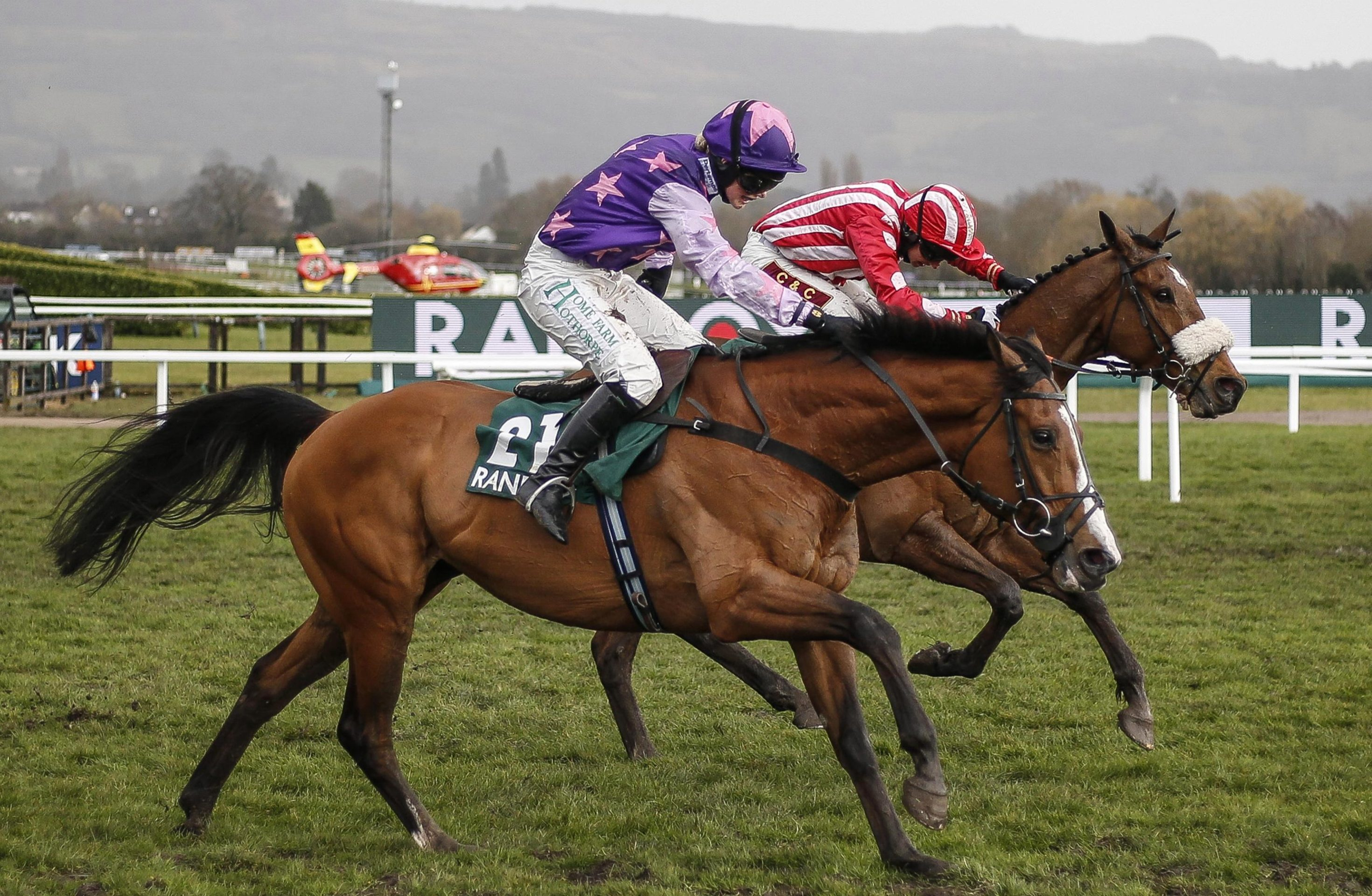 Mohaayed clears the last to win the race on Gold Cup Day
