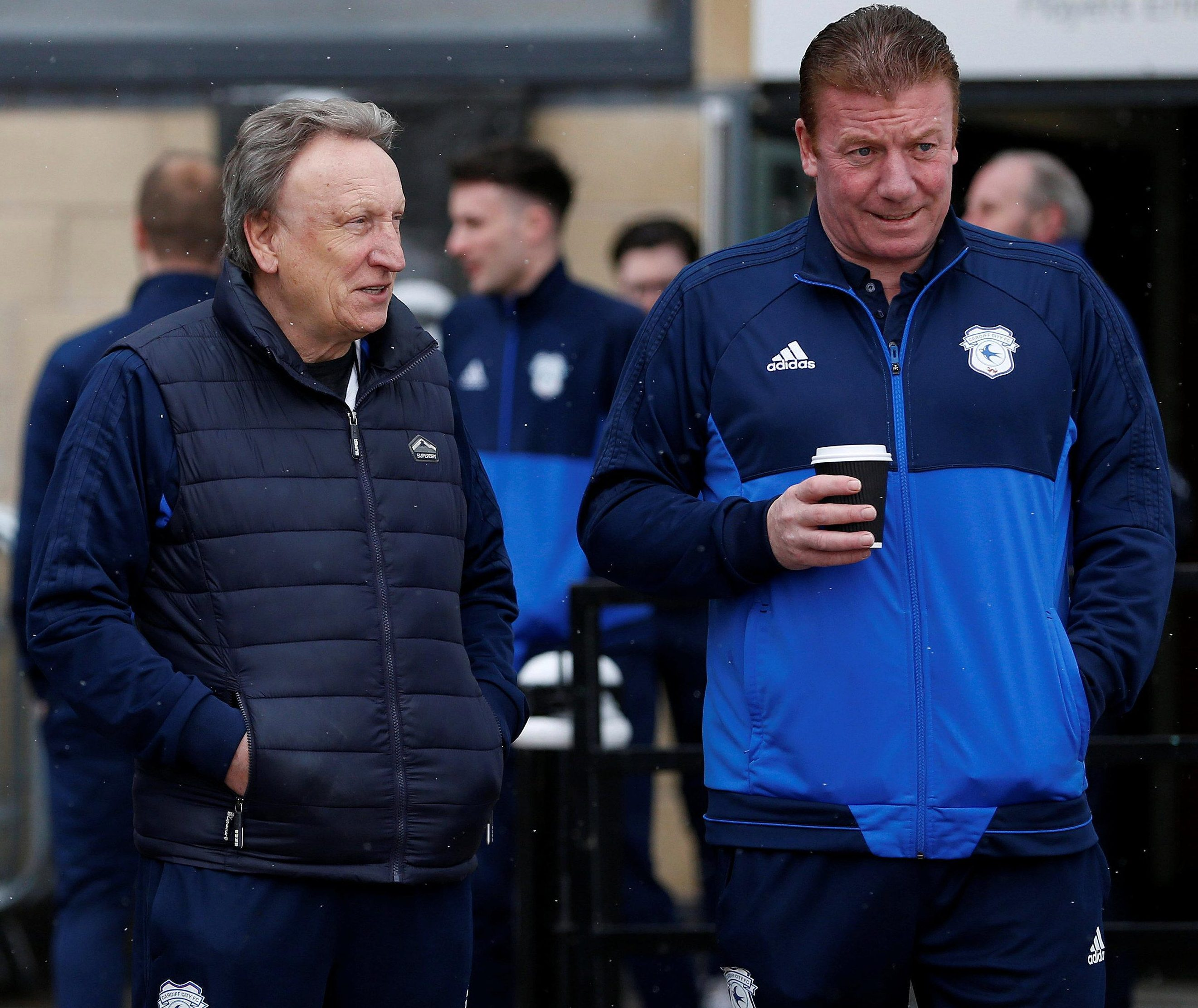 Neil Warnock and Cardiff first team coach Ronnie Jepson sum up the situation early on Saturday morning