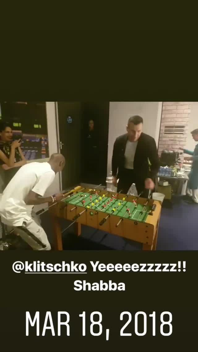 Mo Farah and Wladimir Klitschko went up against each other at table football