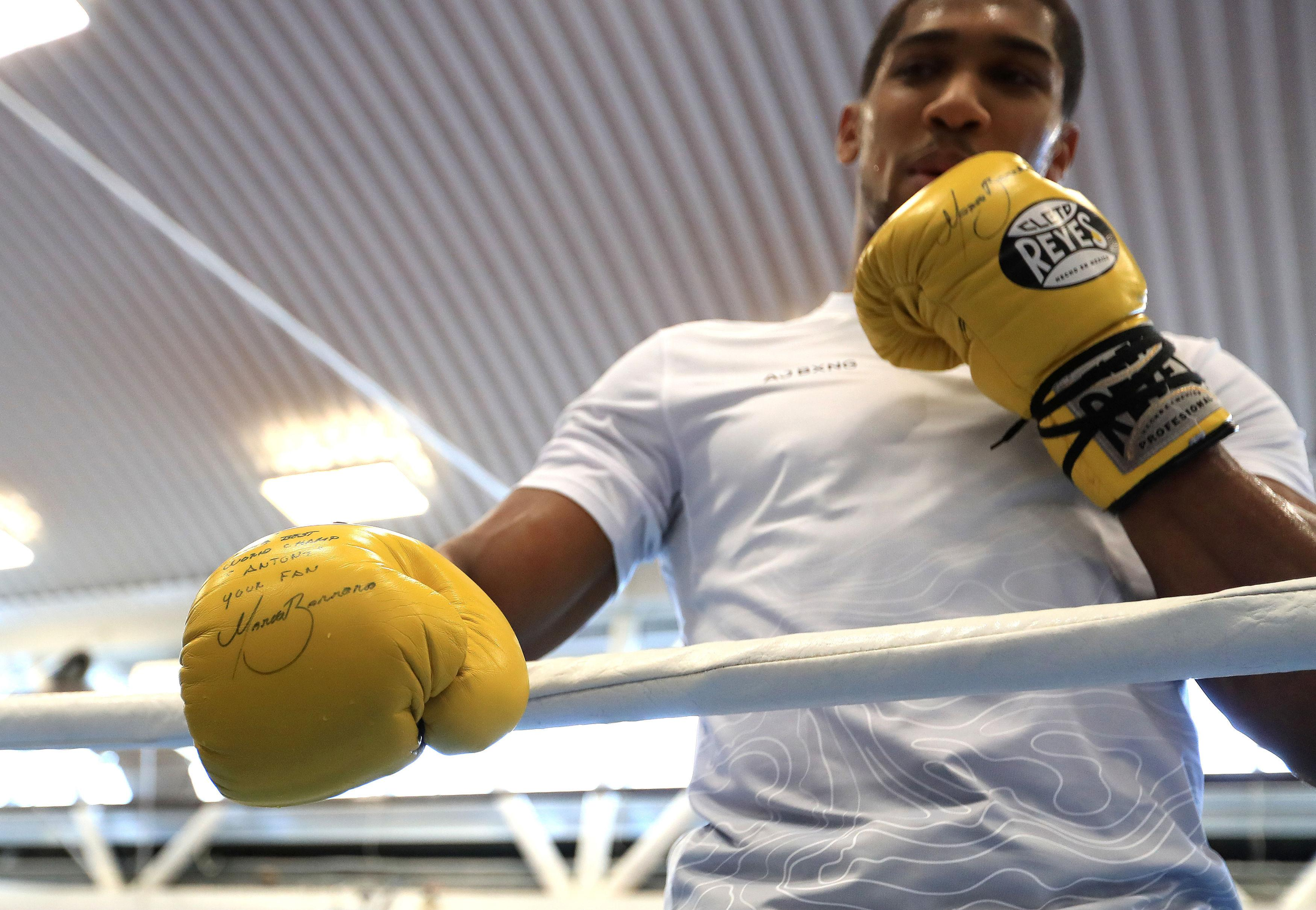 Anthony Joshua trains ahead of world title fight with Joseph Parker