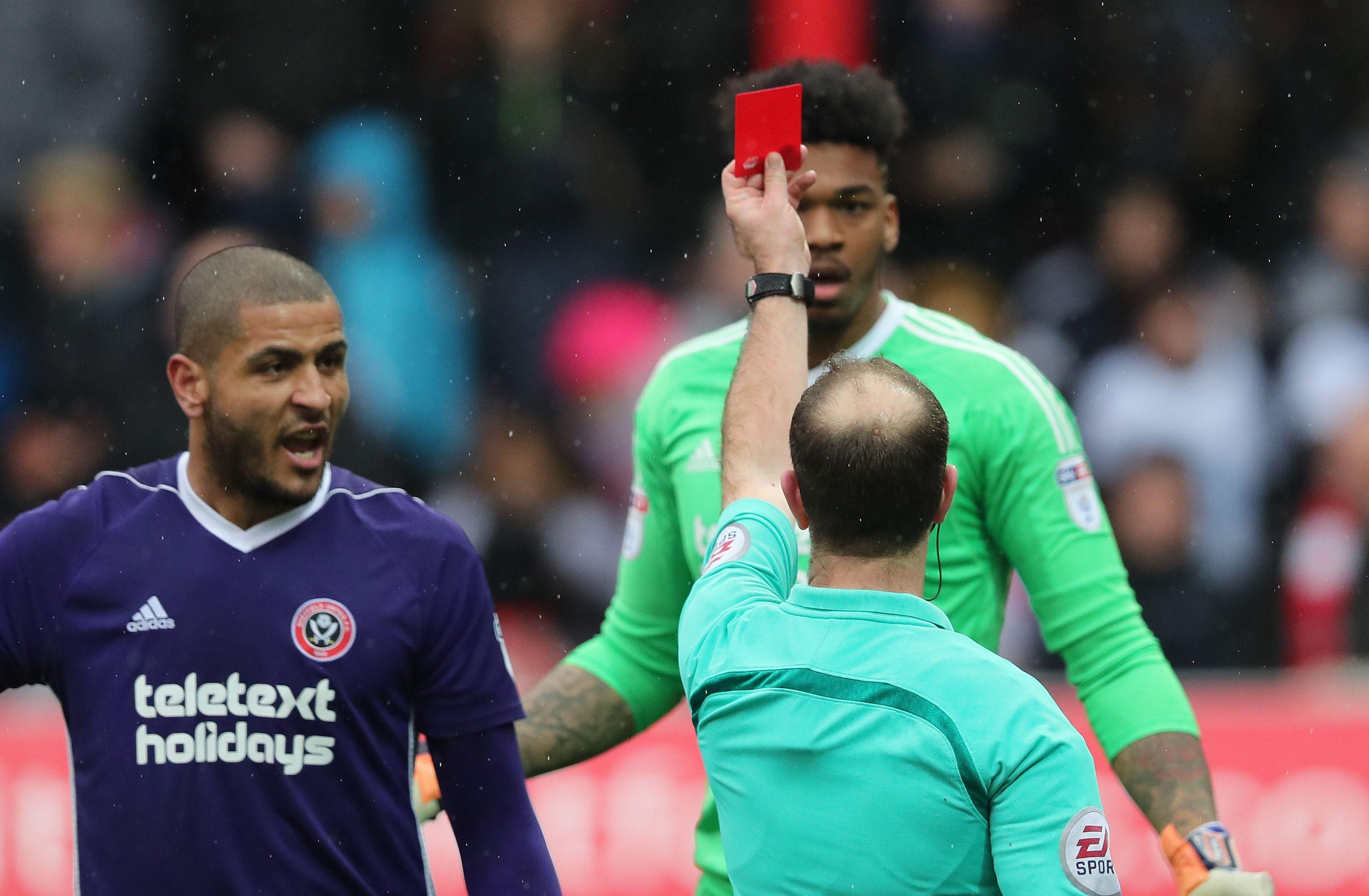 Blackman sees red after the 68th-minute incident
