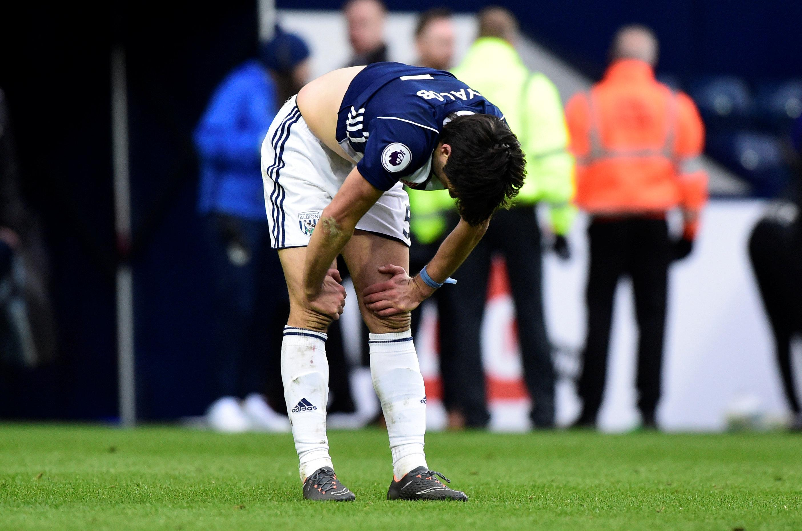 West Bromwich Albion's Claudio Yacob looks dejected after the match.