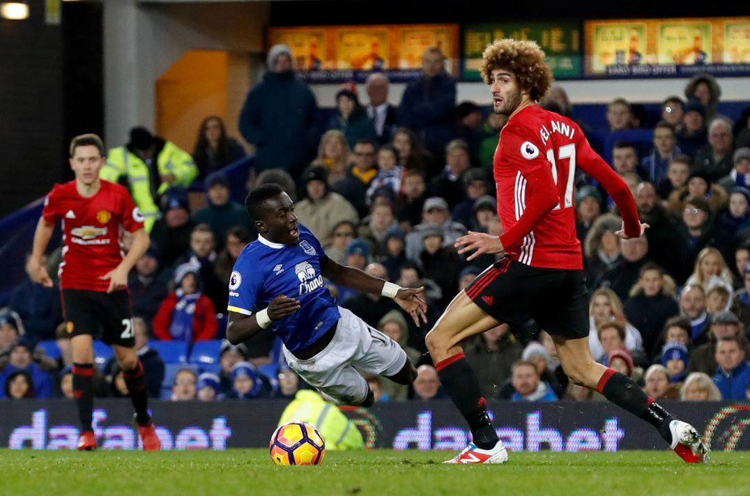 Fellaini endured the wrath of angry supporters after conceding a late penalty against Everton