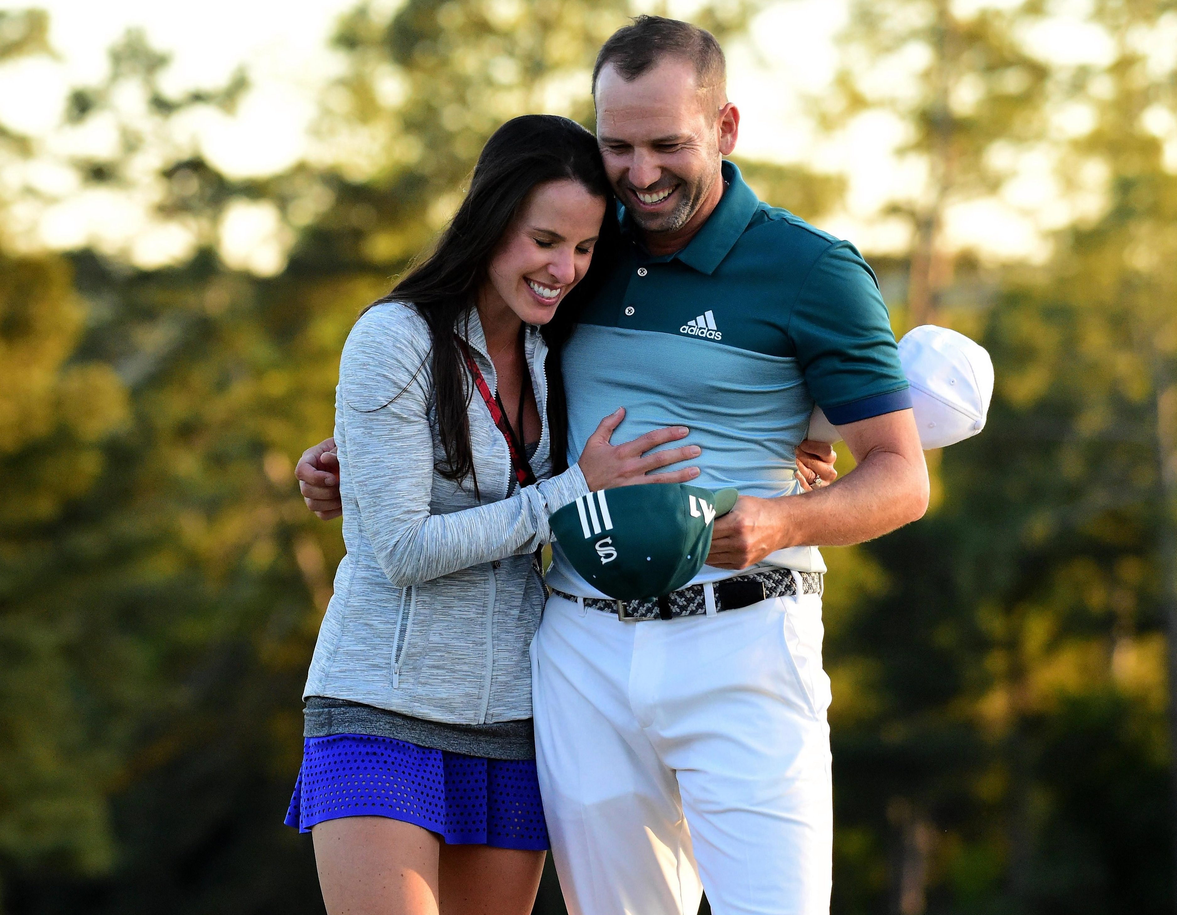 Sergio Garcia and his wife Angela celebrate his Masters win last year