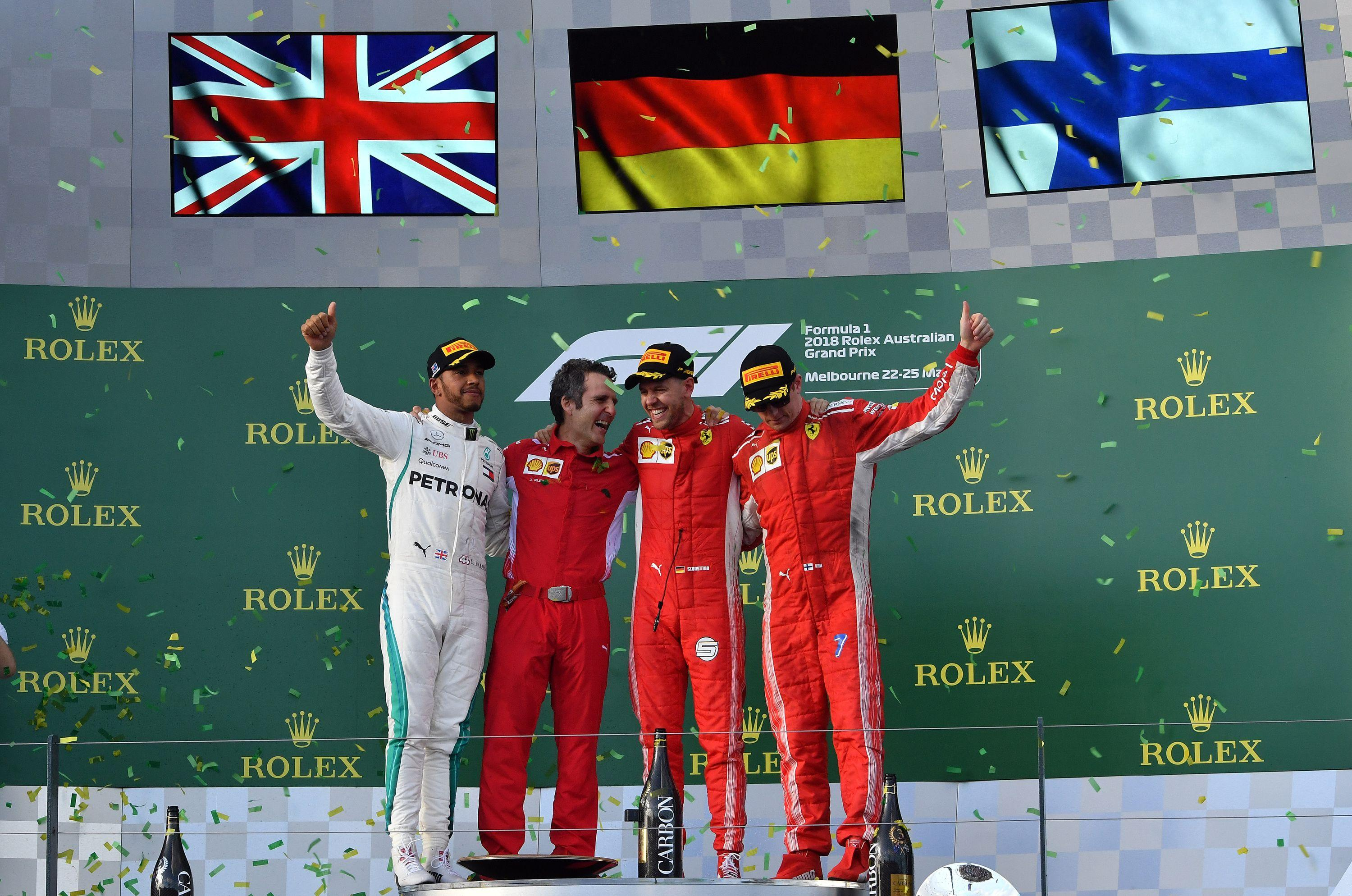 Sebastian Vettel triumphed in the Australian Grand Prix after overtaking Lewis Hamilton in the pit lane