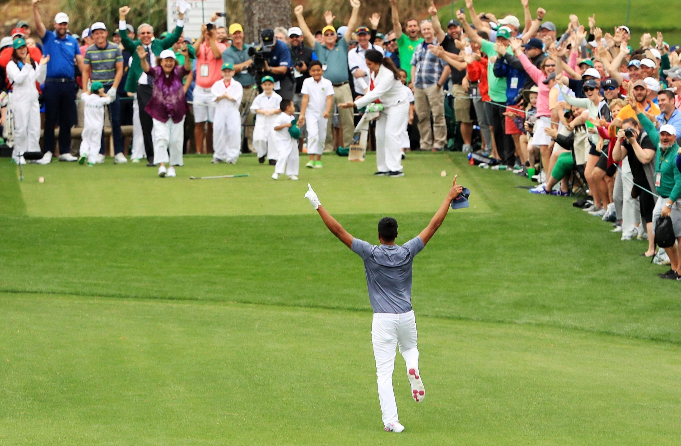 Tony Finau's ankle dislocates as he jumps down the seventh fairway at Augusta