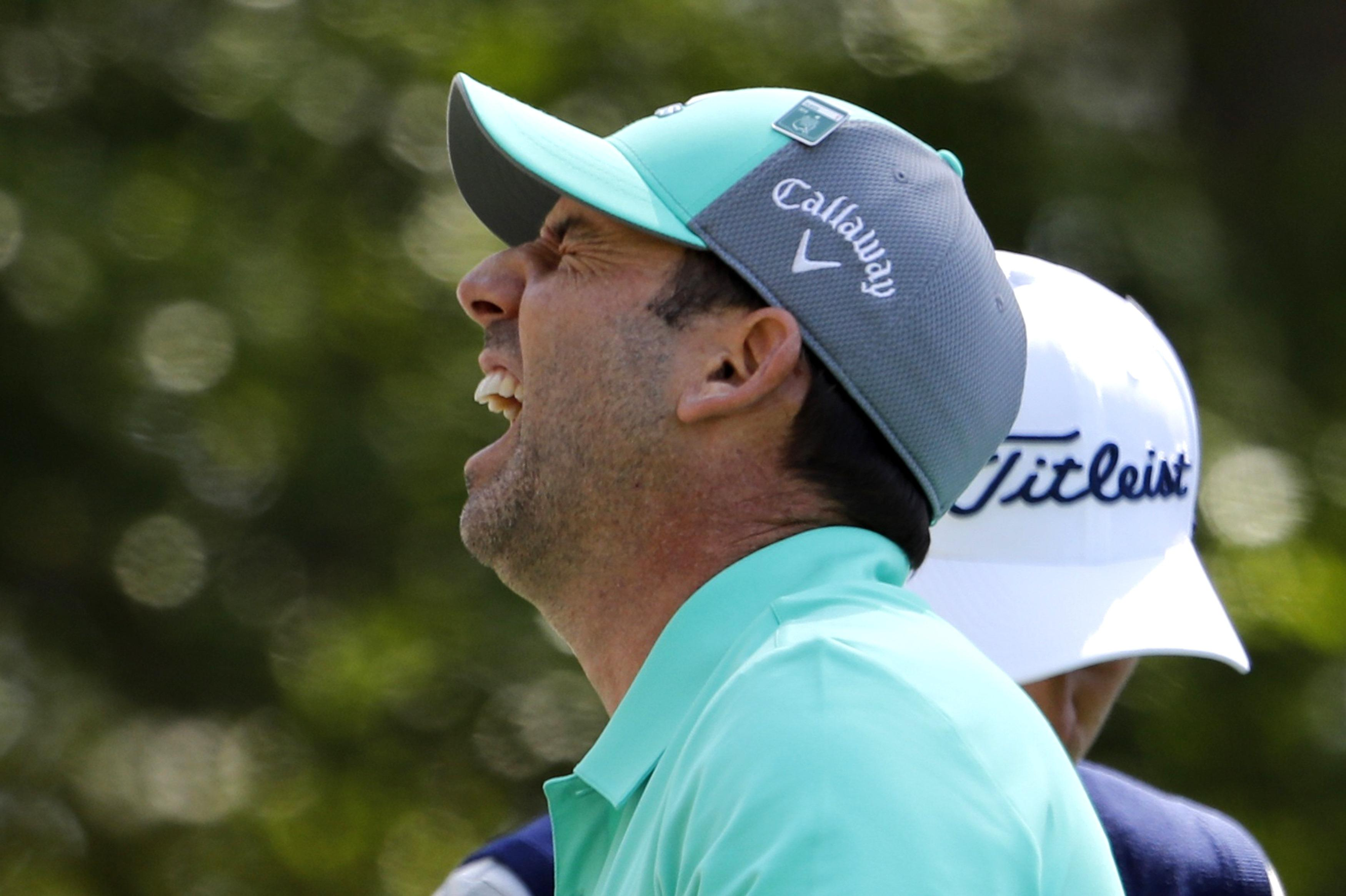 Sergio Aguero suffered a nightmare start to his defence of his Masters title after taking 13 at the 15th