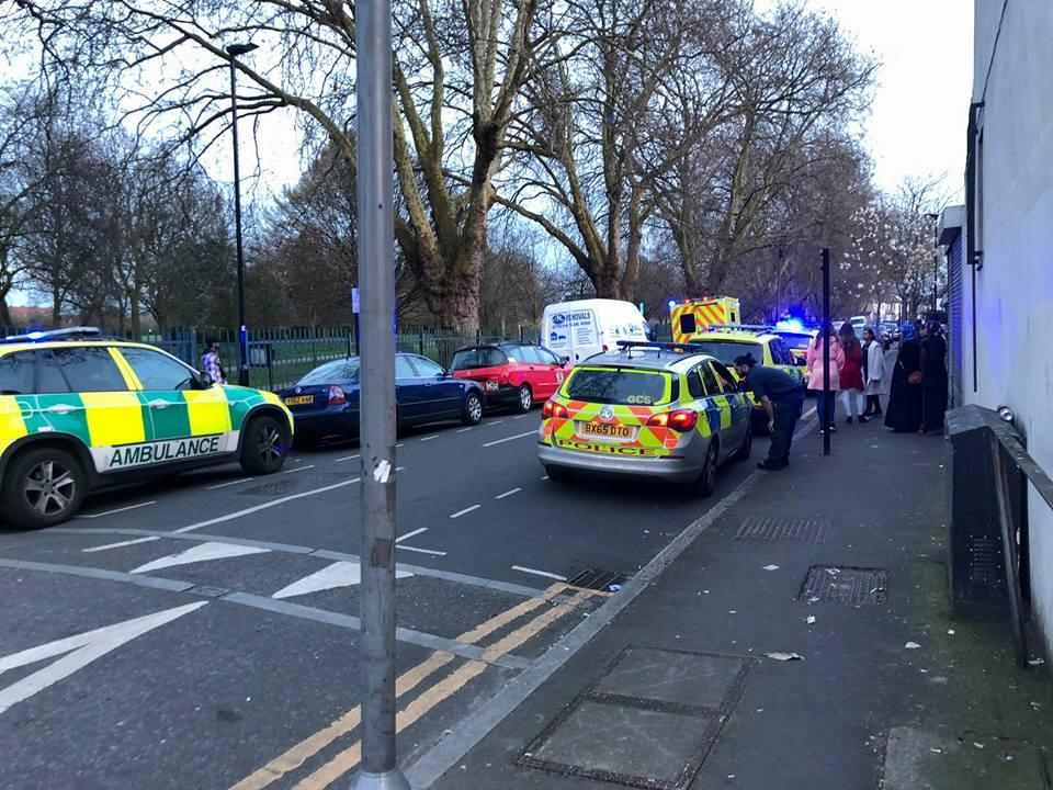 The scene of the knife attack in Newham where a 13-year-old was assaulted last night