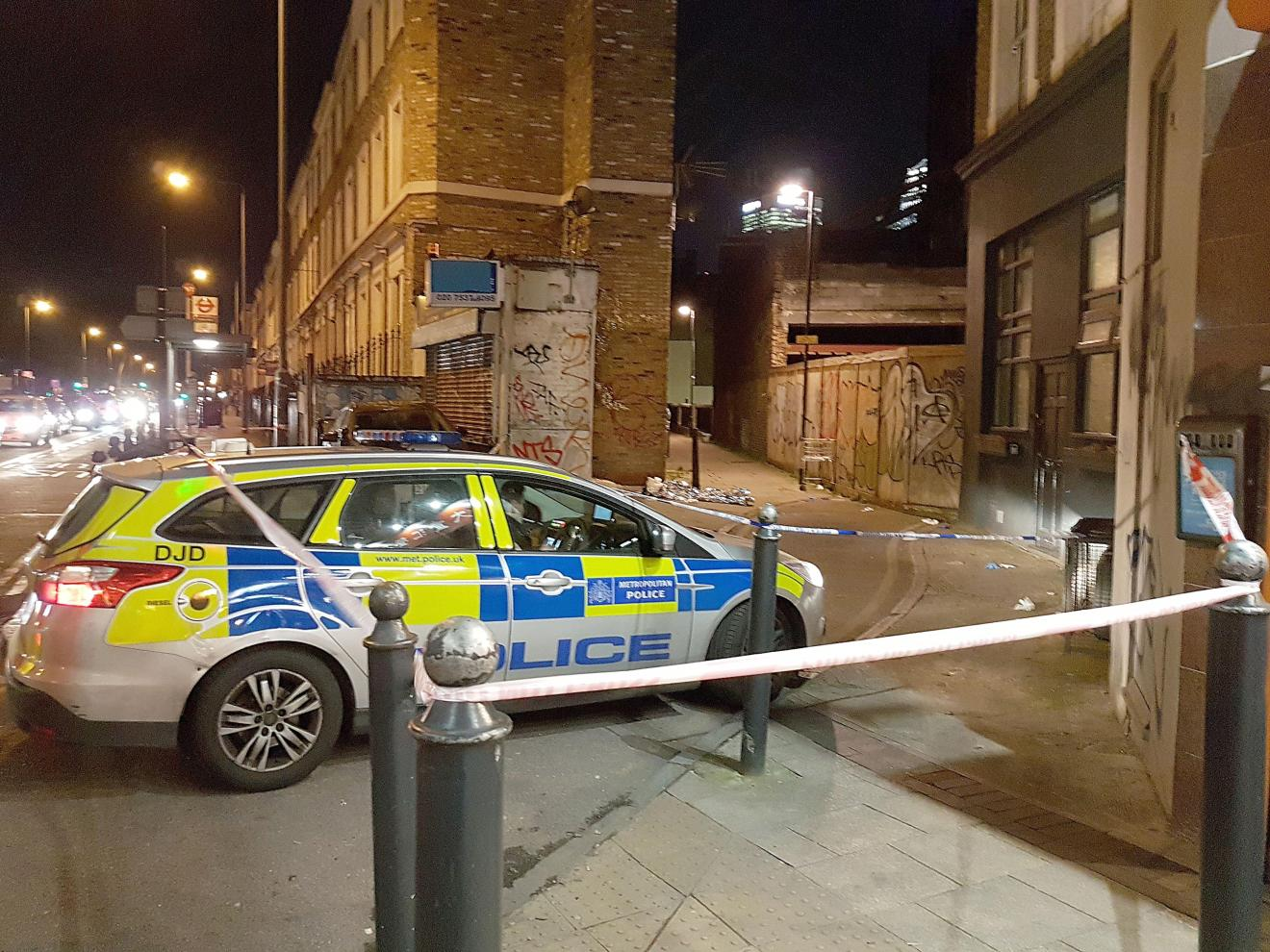 Police were called to a tiny alleyway corner in affluent East India Dock Road, Poplar, last night