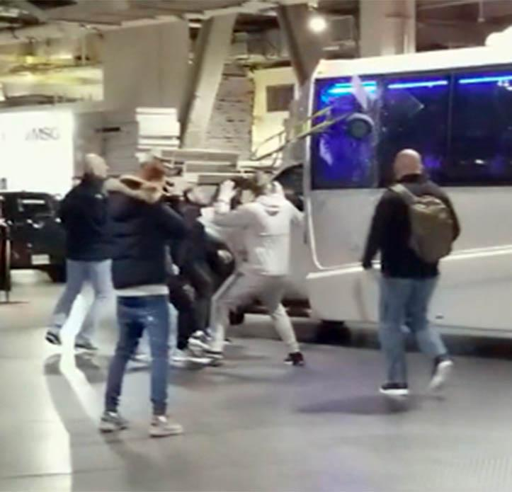 Conor launched a dolly trolley at the window of a bus, injuring two UFC fighters