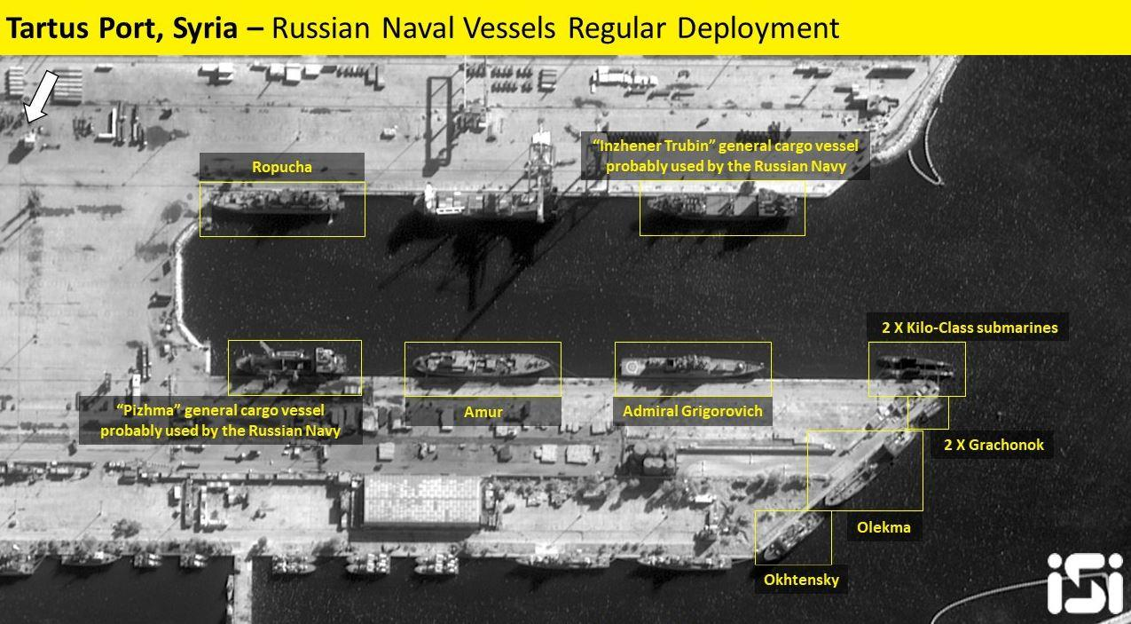 Satellite image showing Russia's Syrian naval base in Tartus Port last week.