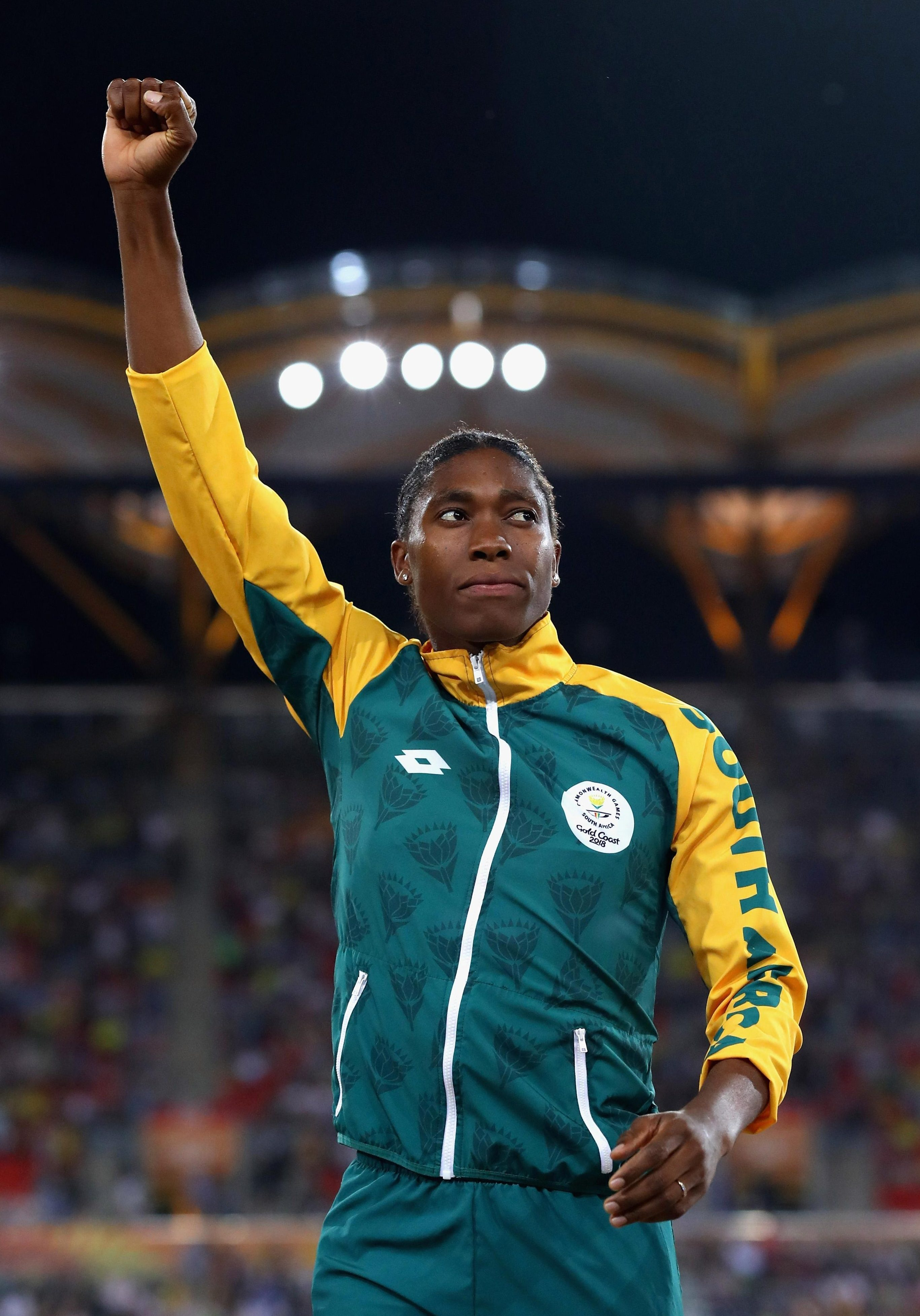 Semenya reacts after winning South Africa's 13th gold medal at the Commonwealth Games