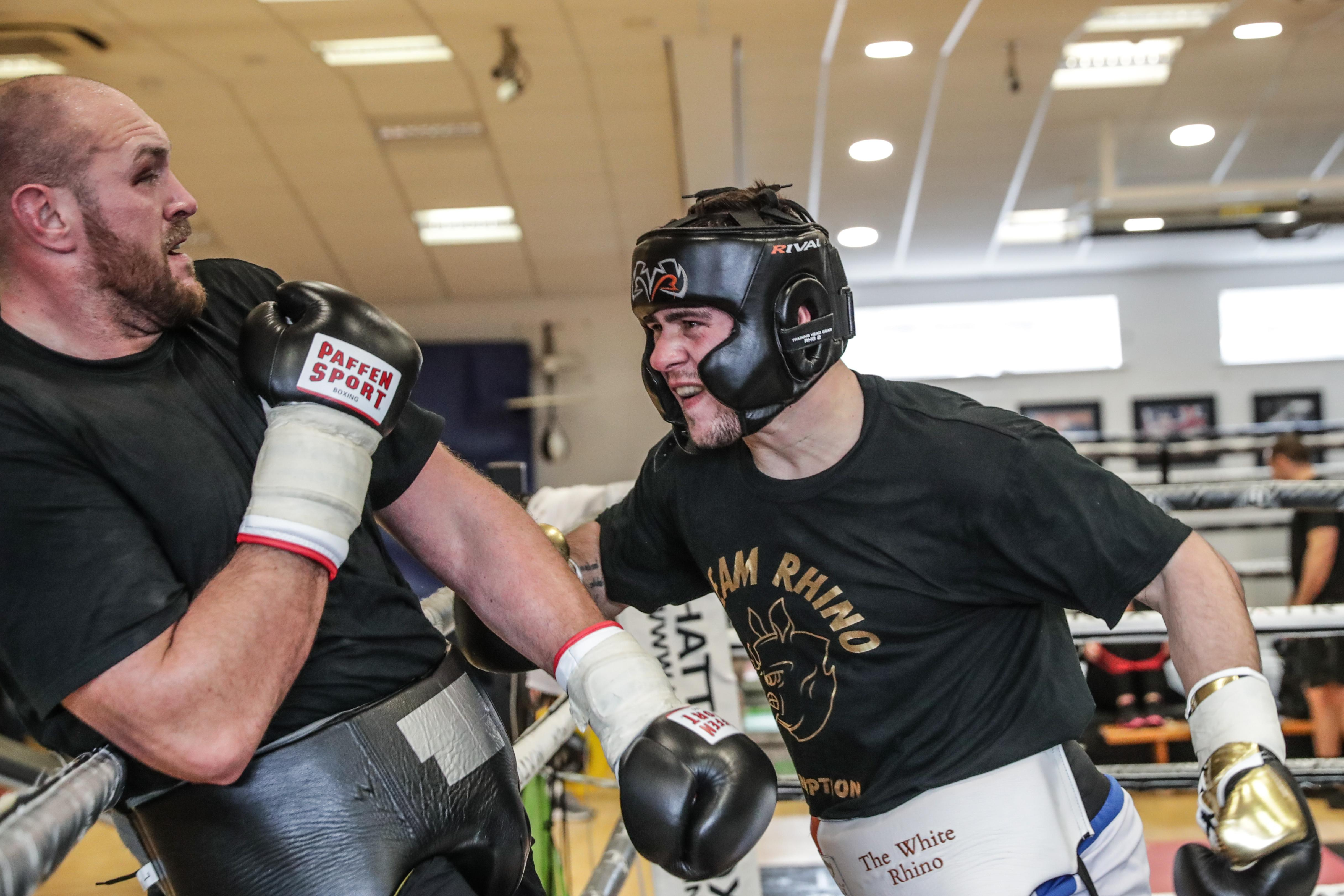 The Gypsy King has to show some of those legendary defensive skills against rampaging White Rhino David Allen