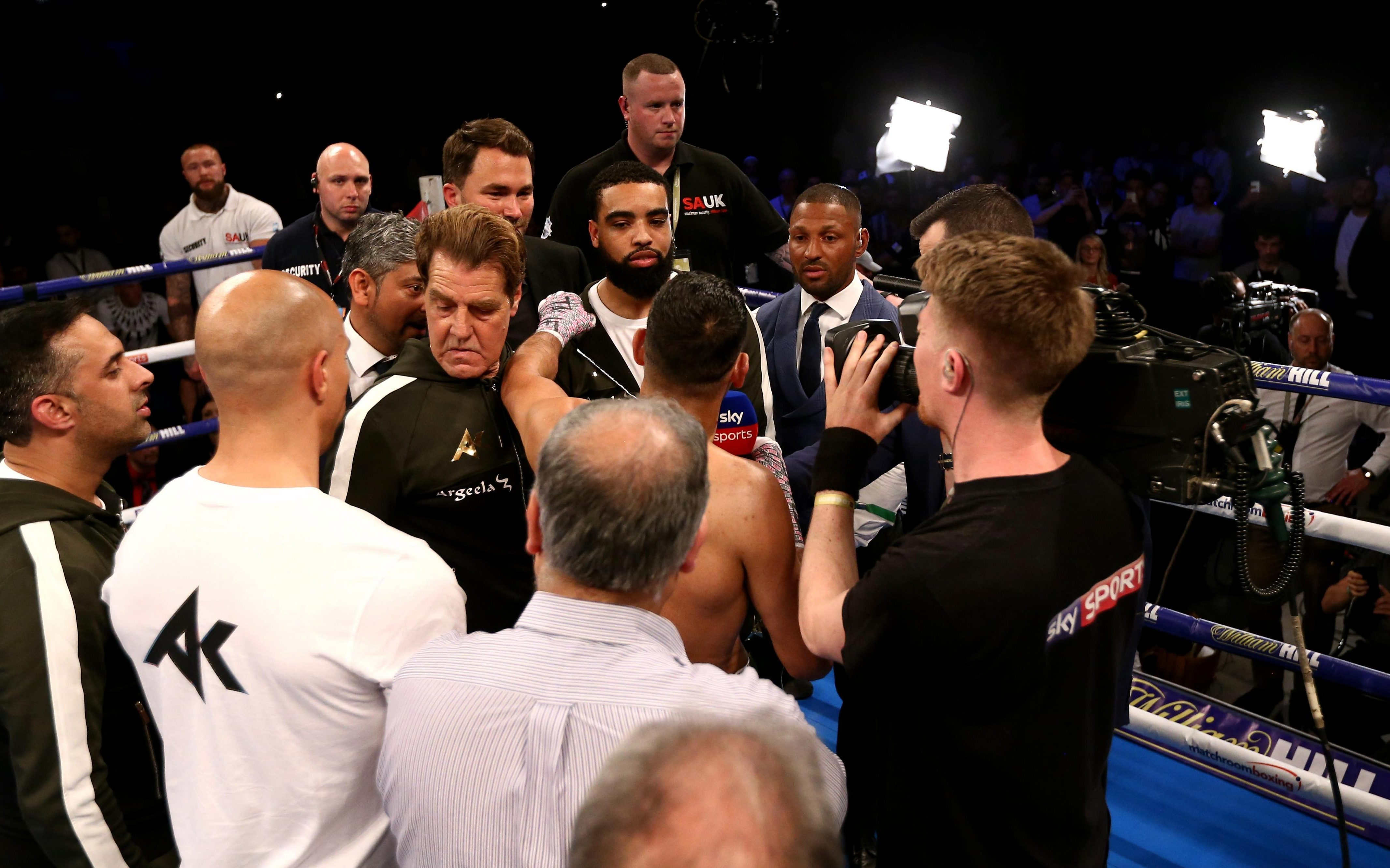 Amir Khan and Kell Brook faced off in the ring after the fight