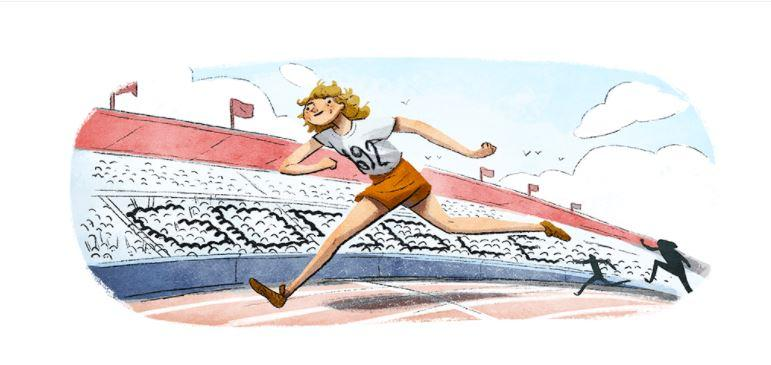 A Google Doodle celebrates the Dutch athlete on her 100th birthday