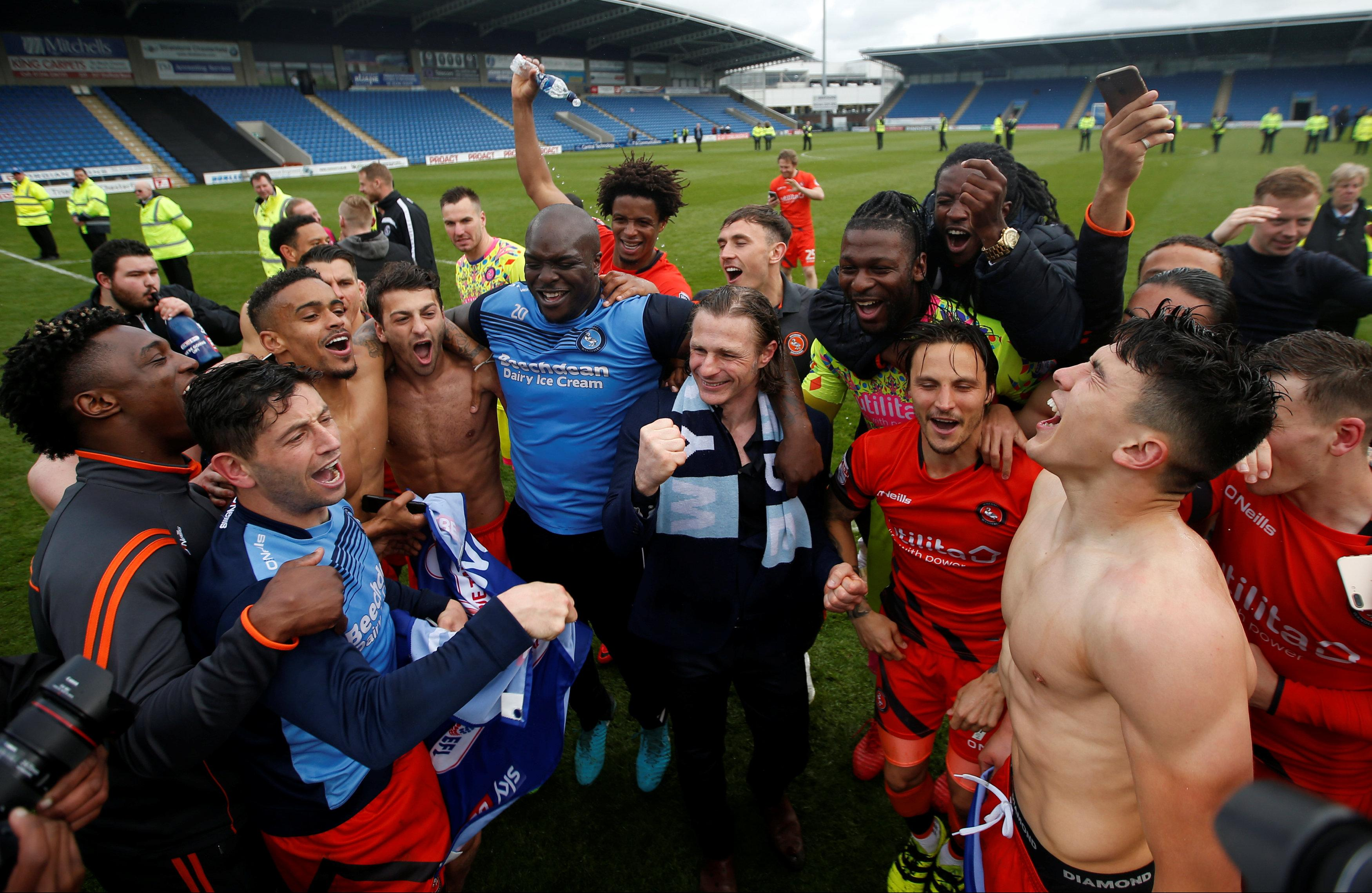 Wycombe Wanderers in party spirit after securing promotion against Chesterfield