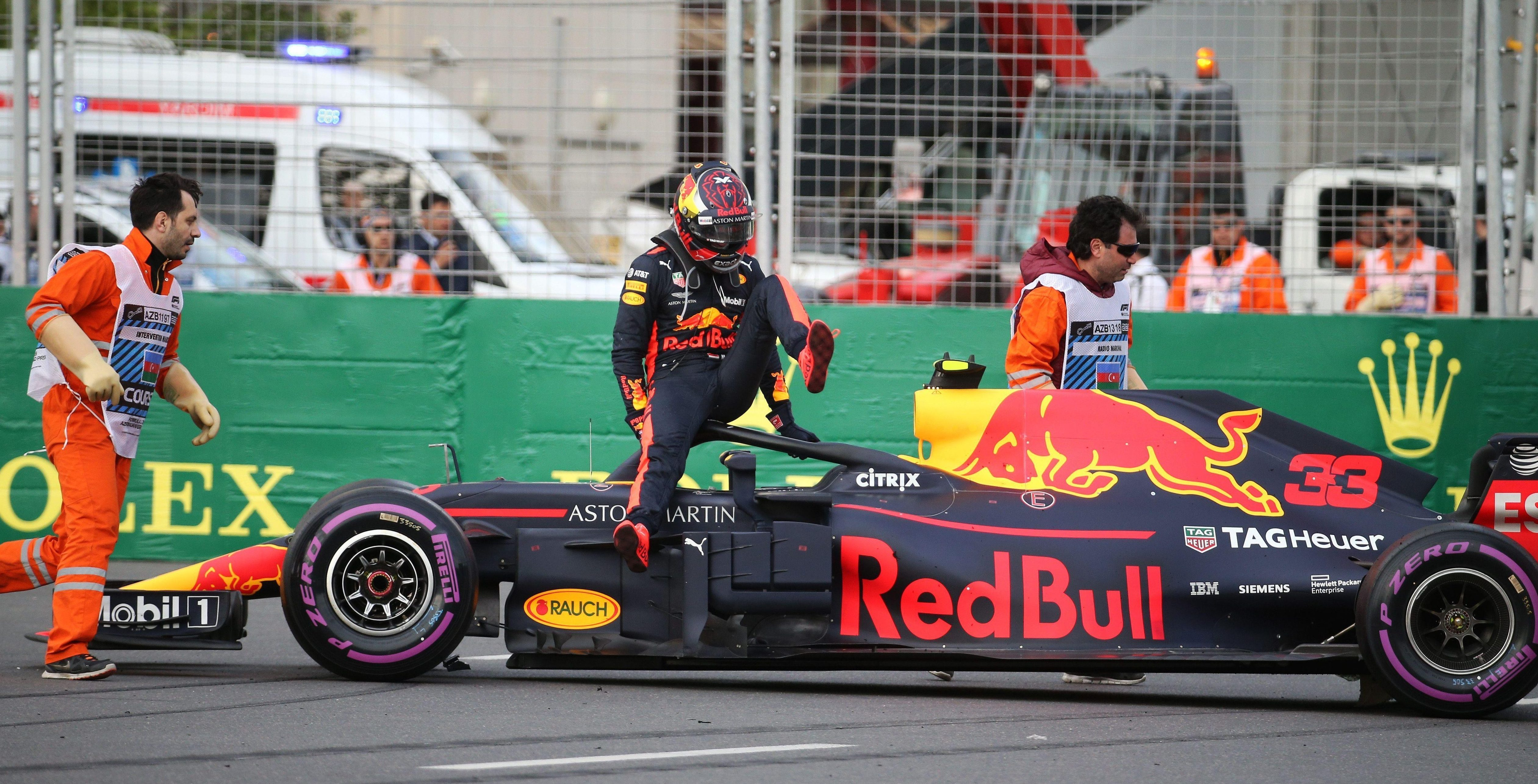 The race was ended for Max Verstappen and his Red Bull - in bizarre fashion