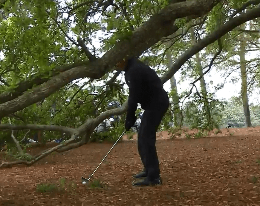 Phil Mickelson lines up to take his second shot from the trees