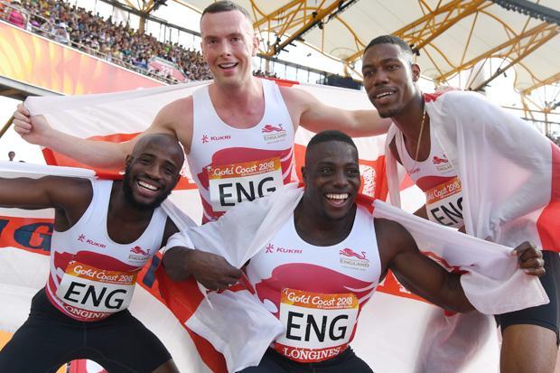 England's Reuben Arthur, Richard Kilty, Harry Aikines-Aryeetey and Zharnel Hughes celebrate winning the men's 4x100m relay final
