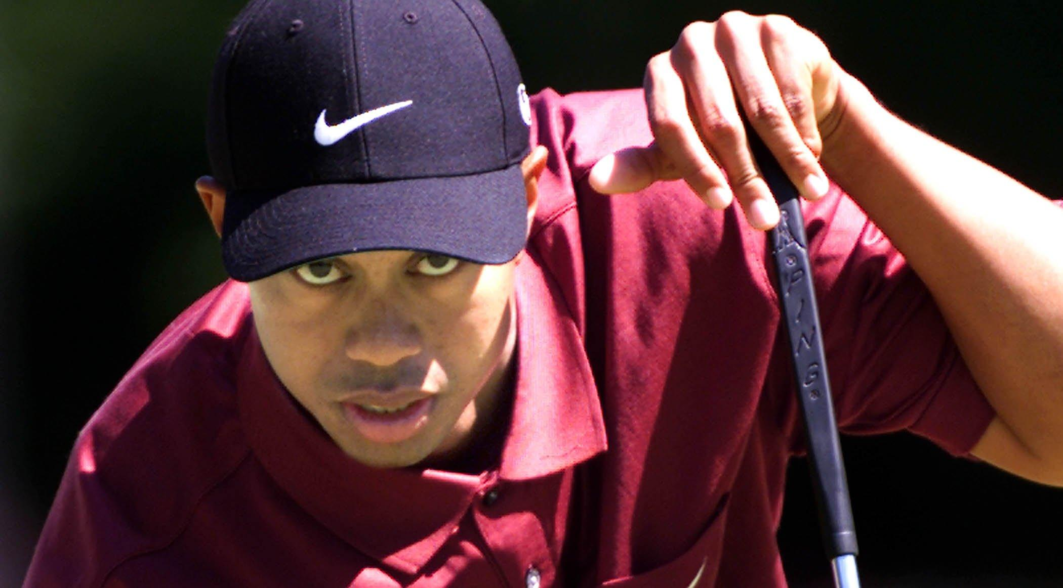 Tiger Woods with his signature look back in 2001