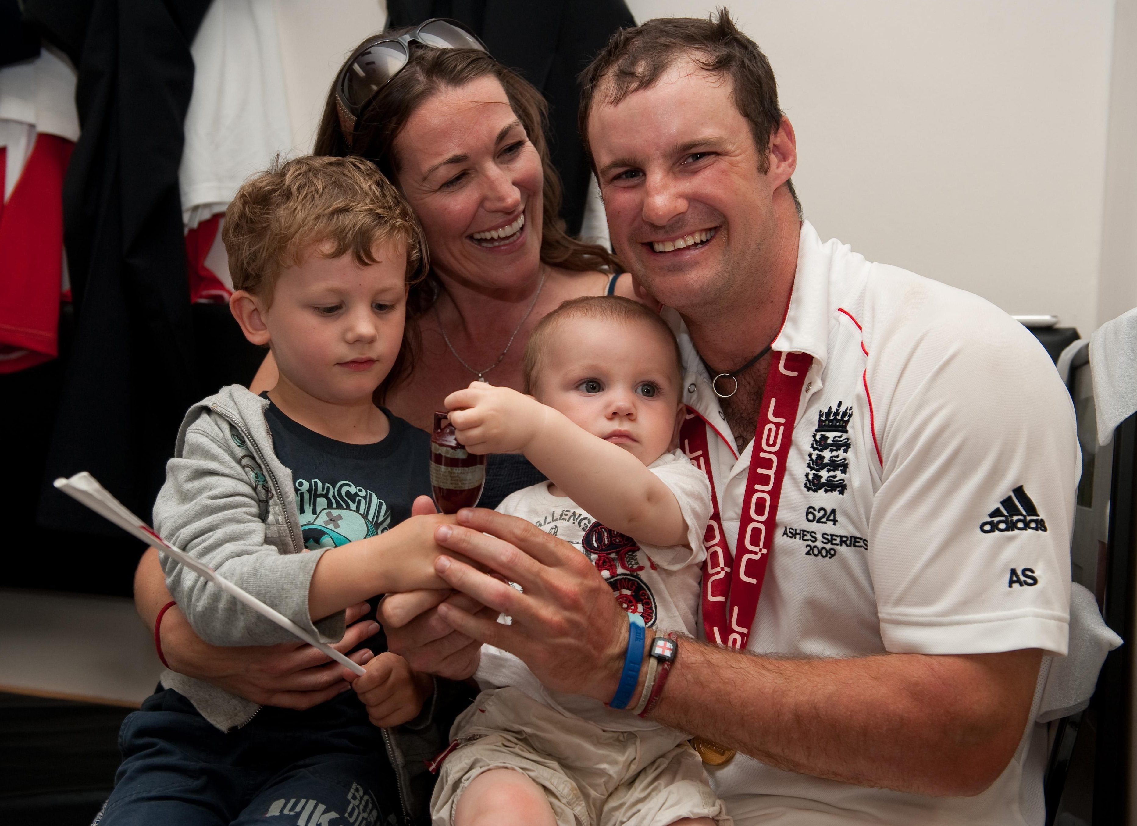 Andrew Strauss, seen with sons Samuel and Luca, will take the summer off to be with wife Ruth during her cancer treatment