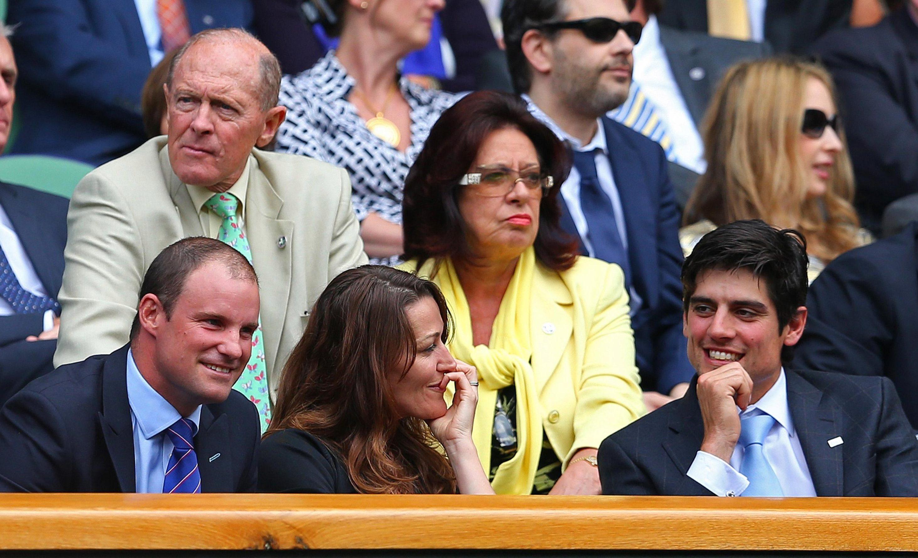 Ruth jokes with England star Alastair Cook at Wimbledon, next to her husband
