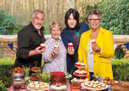 Left to right: Paul Hollywood, Sandi Toksvig, Noel Fielding and Prue Leith from Great British Bake Off
