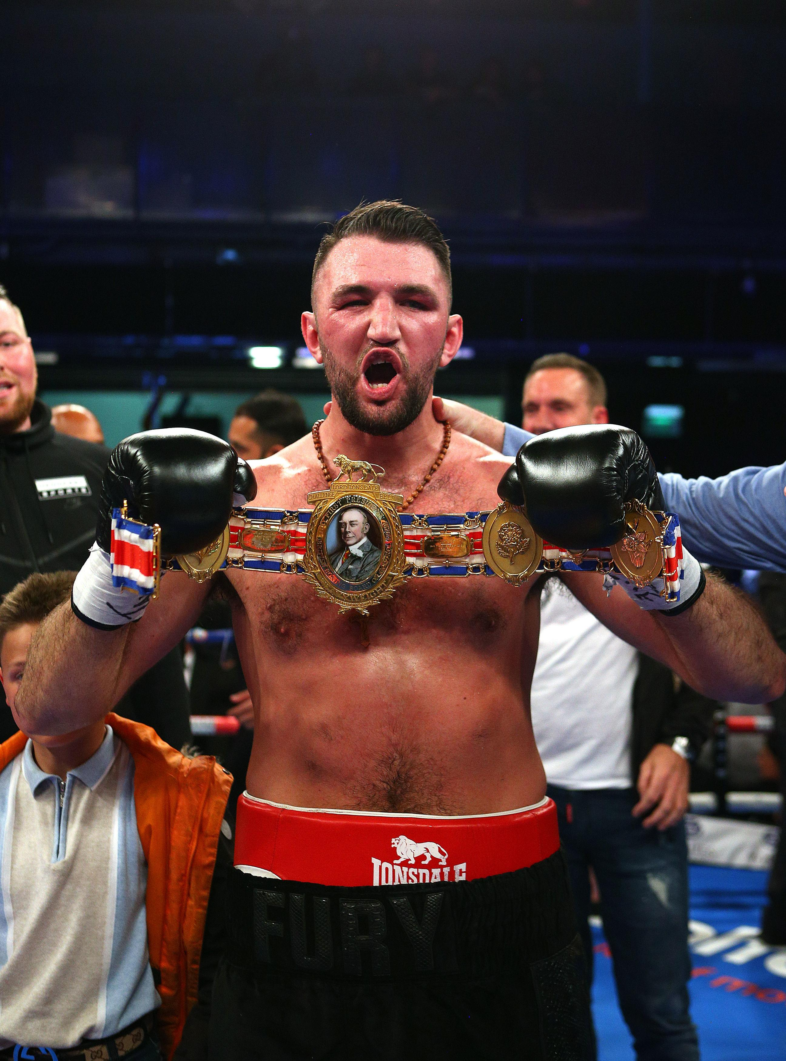 Hughie Fury reacts after beating Sam Sexton to become the British heavyweight champion