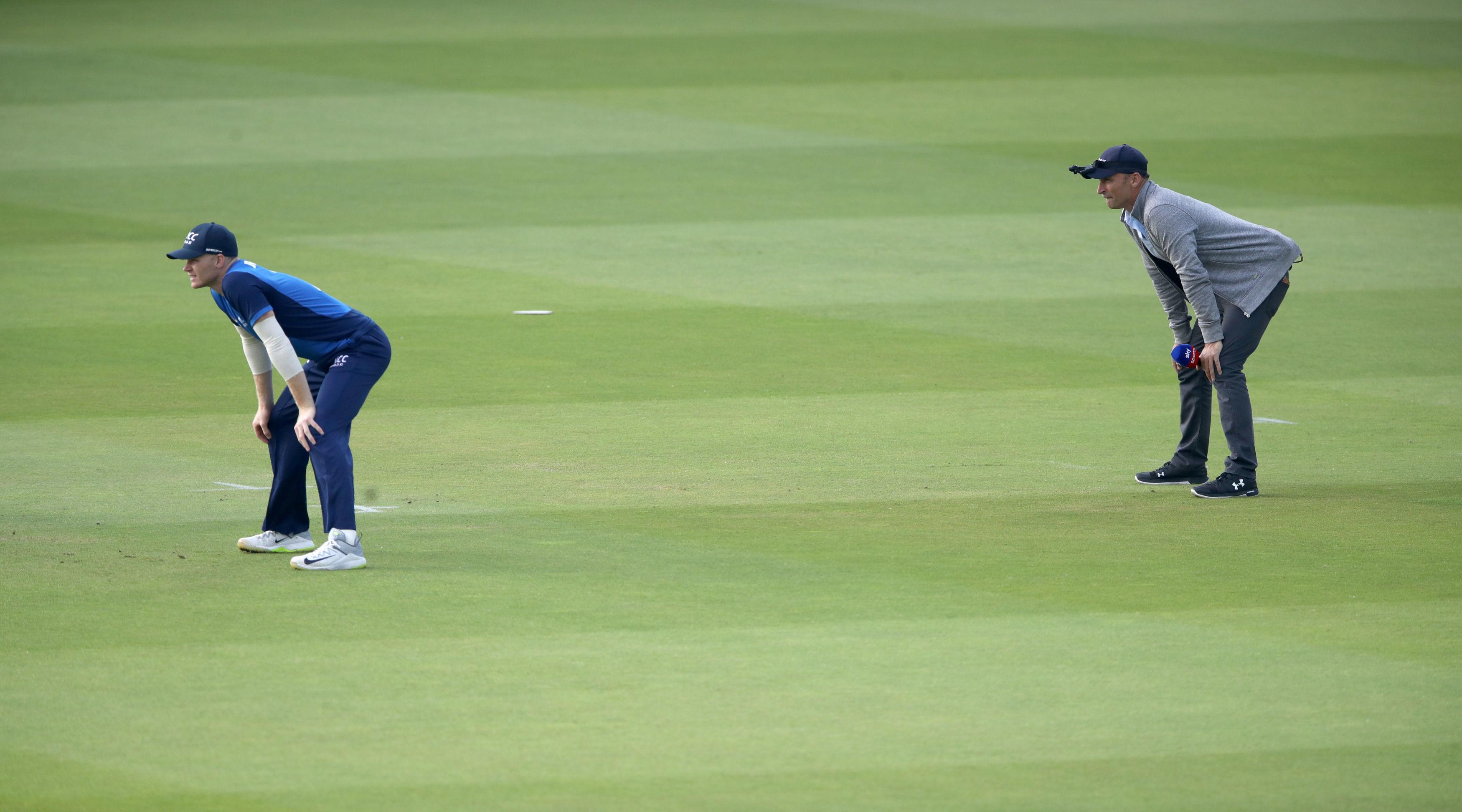 Sky Sports commentator Nasser Hussain joined the players on the field with a camera on his cap