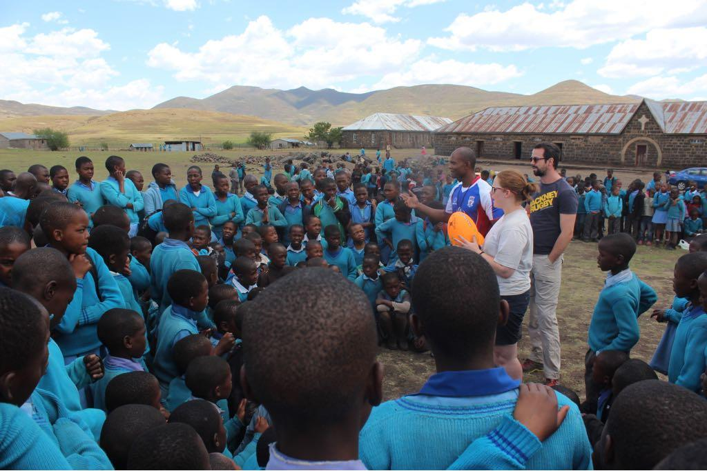 Lit'sitso Mots'eremeli and Dan Aylward are teaching the local kids in Lesotho how to play rugby and educating them of the dangers of HIV and Aids