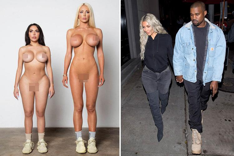 Kanye West posts snap of naked Kim Kardashian lookalike modelling his trainers