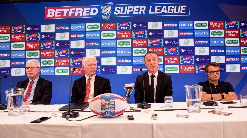 Robert Elstone outlines his aims with Super League alongside Ian Lenagan (left), Eamonn McManus and Simon Moran (right)