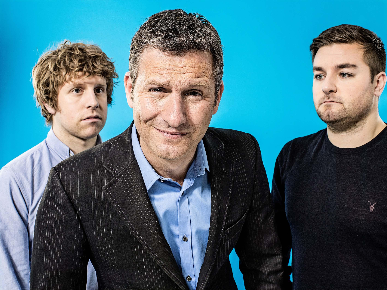 Adam Hills, centre, is the frontman for Channel 4's Last Leg show
