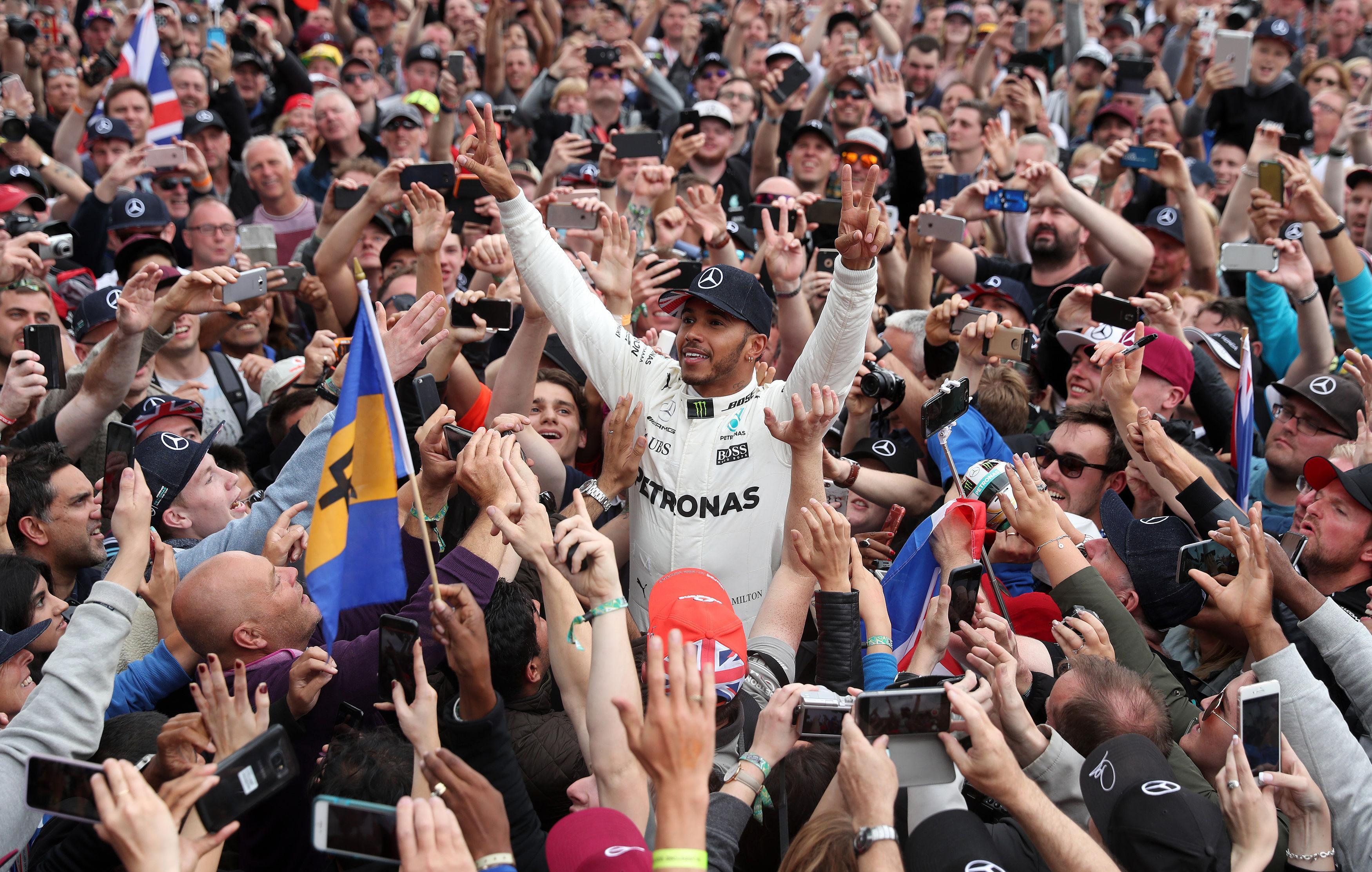 Lewis Hamilton celebrating his victory in the 2017 British Grand Prix at Silverstone