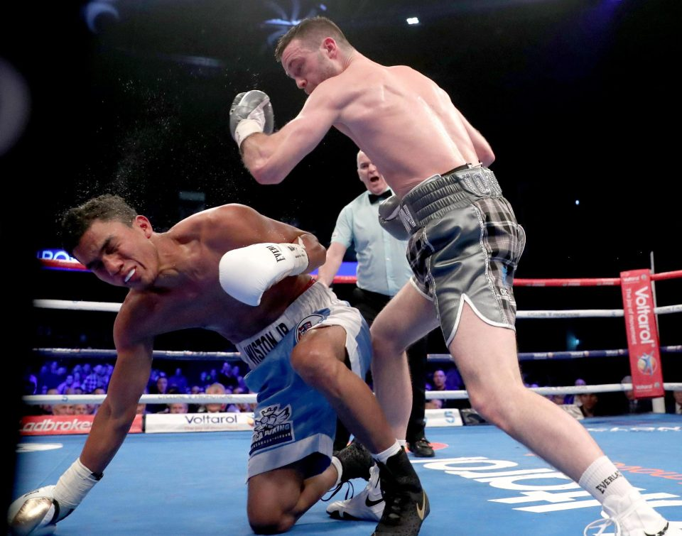 Taylor on his way to beating Winston Campos in a defence of his WBC silver super lighweight crown