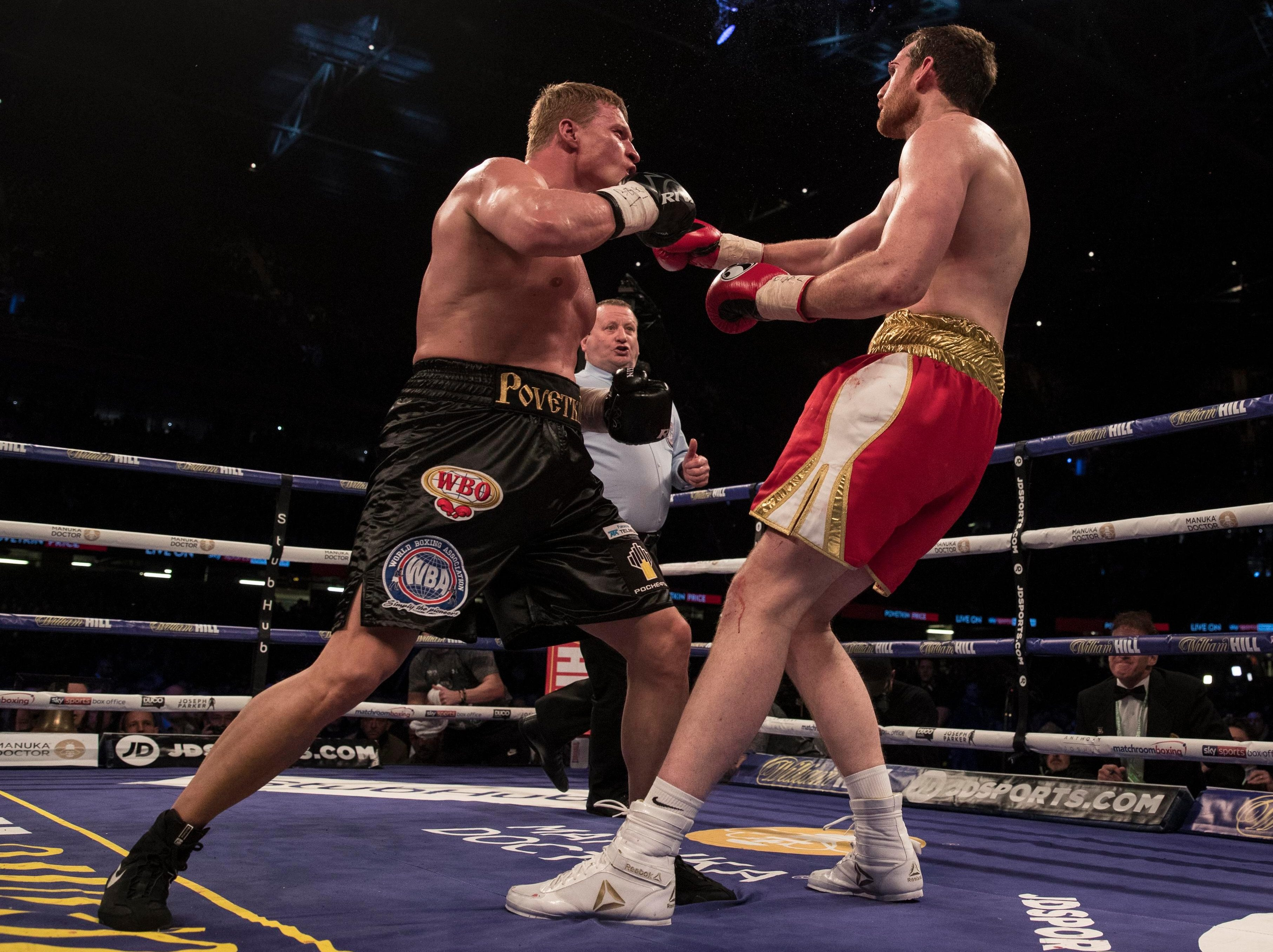 The WBA threatened to strip Joshua of their title if he didn't fight mandatory challenger Povetkin, left