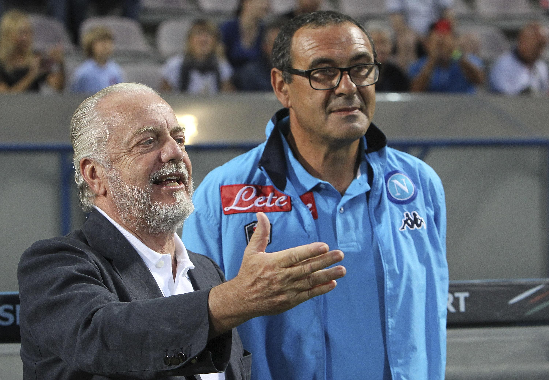 Napoli presidentAurelio De Laurentiis says he has not heard from out of work Maurizio Sarri