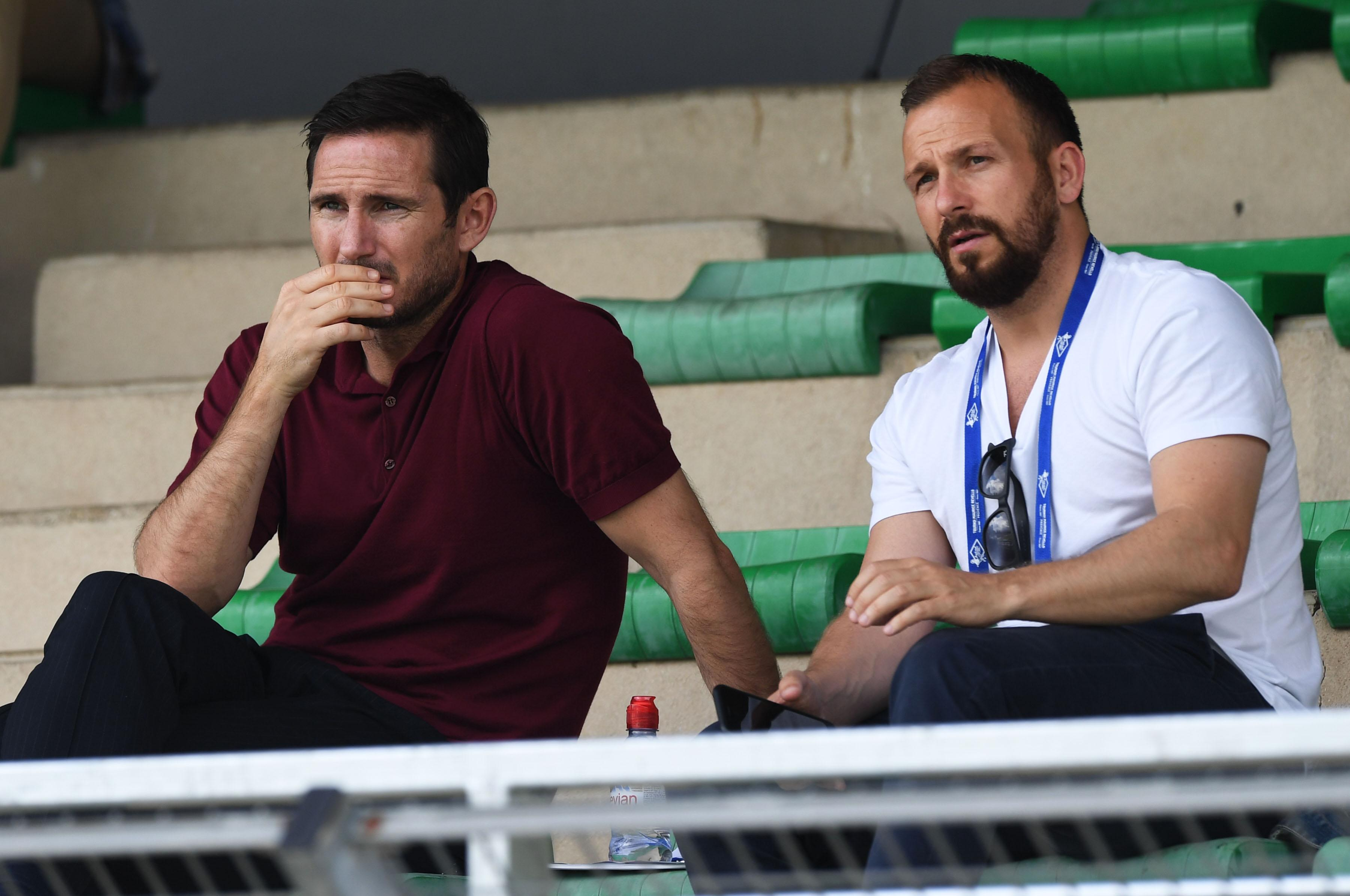 Frank Lampard and Jody Morris took their seat in the stands