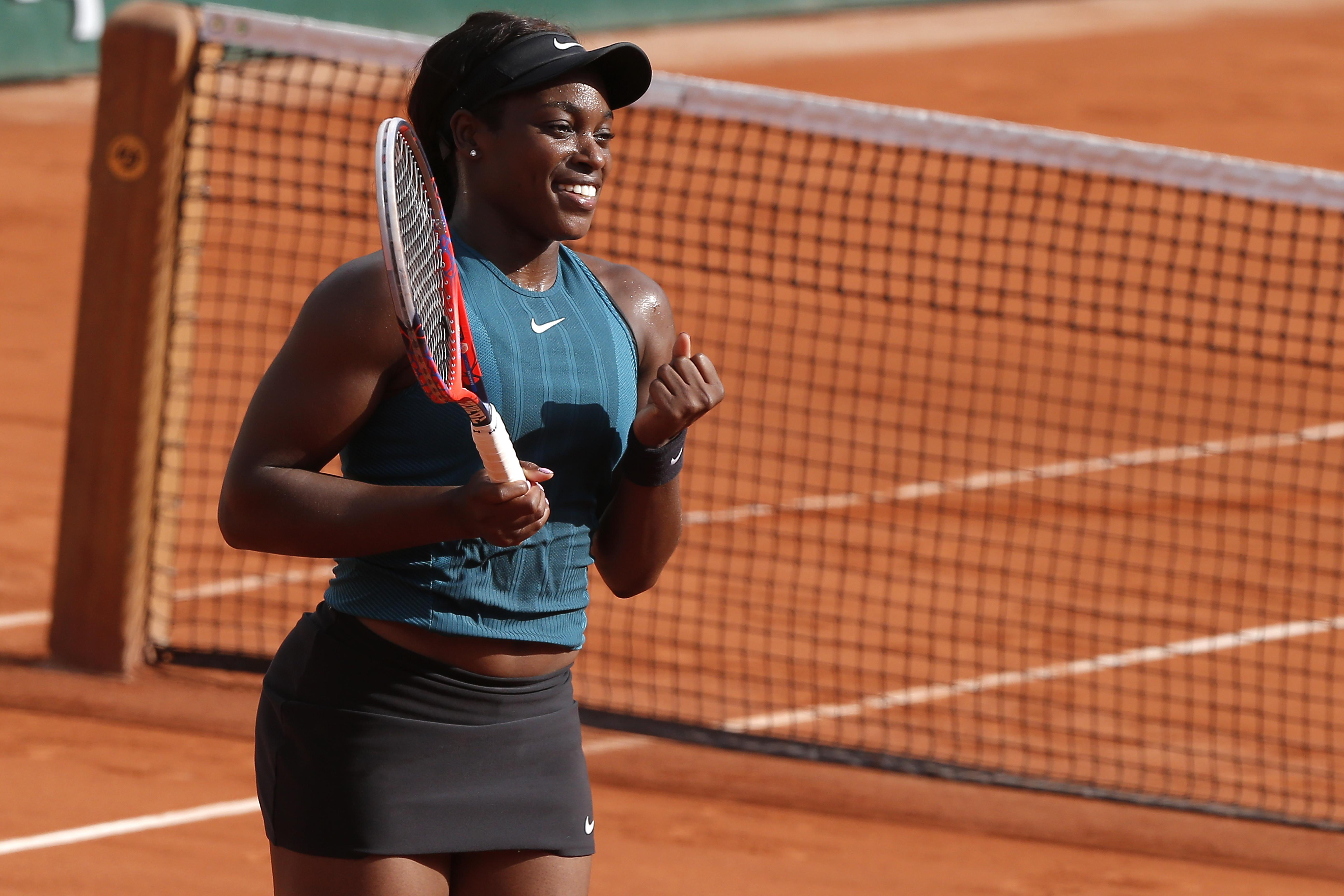 Sloane Stepens reacts after beating Madison Keys to seal her place in the final at Roland Garros