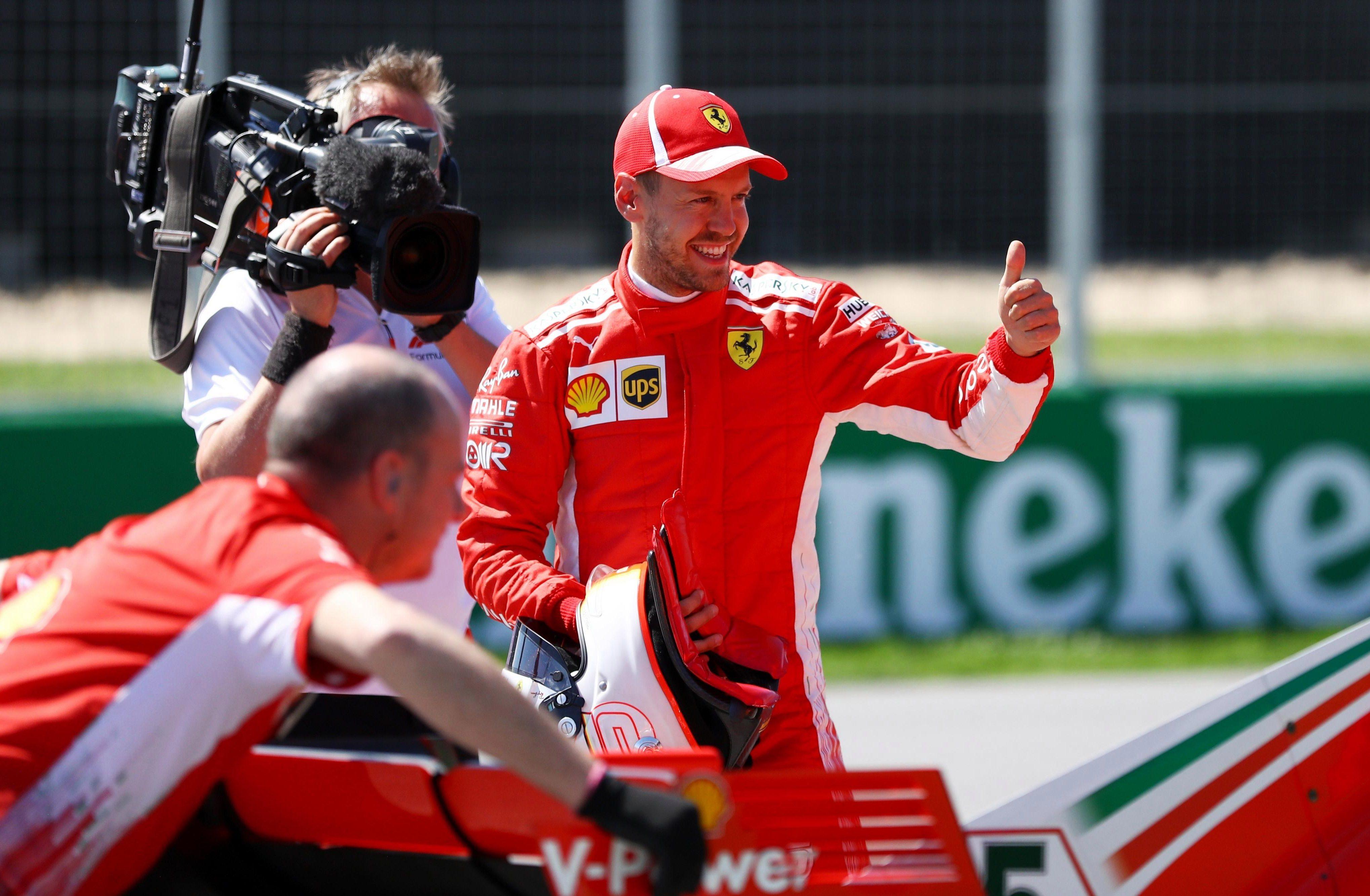 Sebastian Vettel took pole position in qualfiying